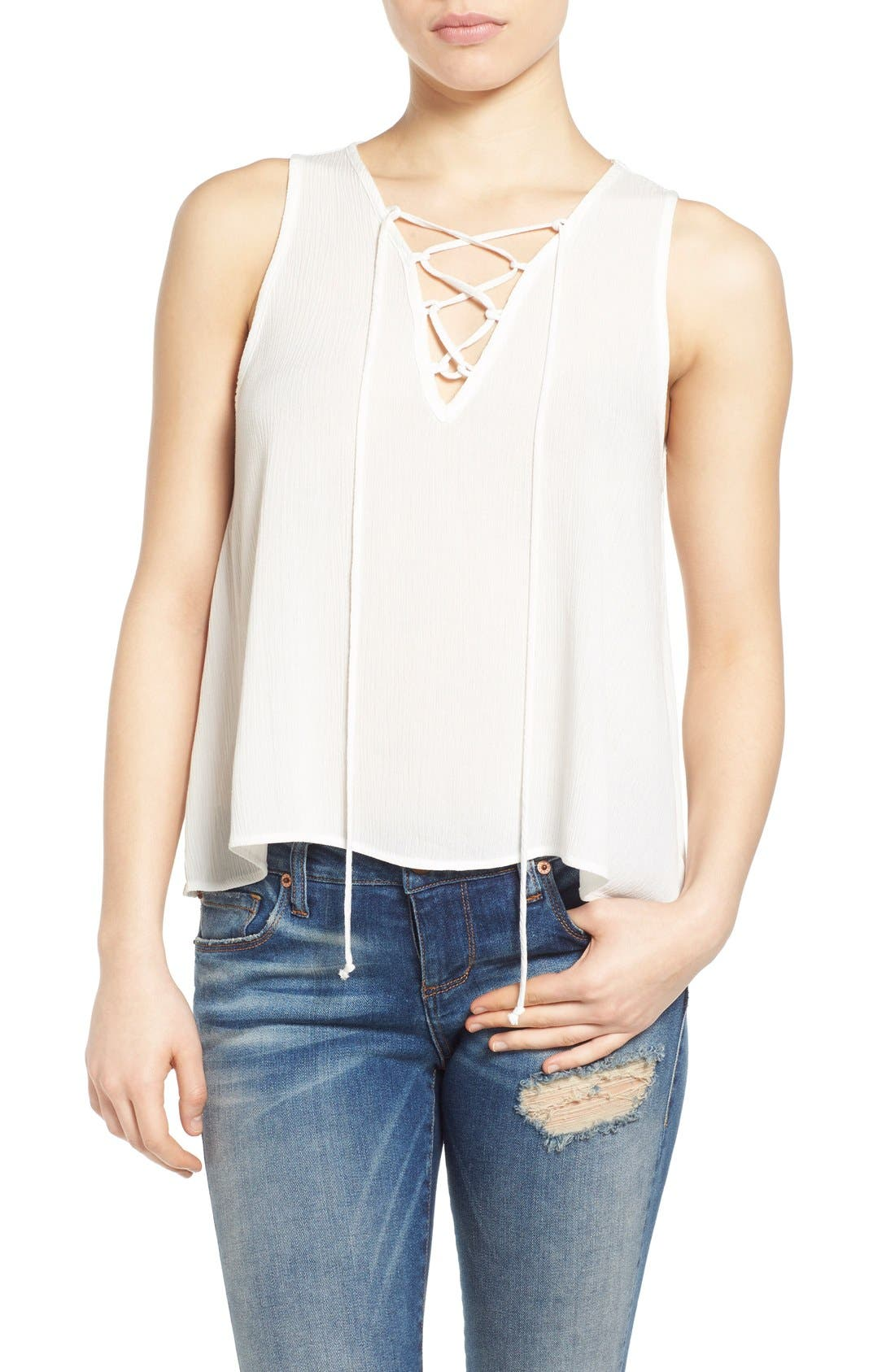 Main Image - Painted Threads Lace-Up Tank