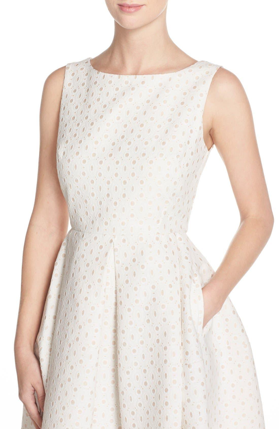 Alternate Image 5  - Taylor Dresses Eyelet Fit & Flare Dress