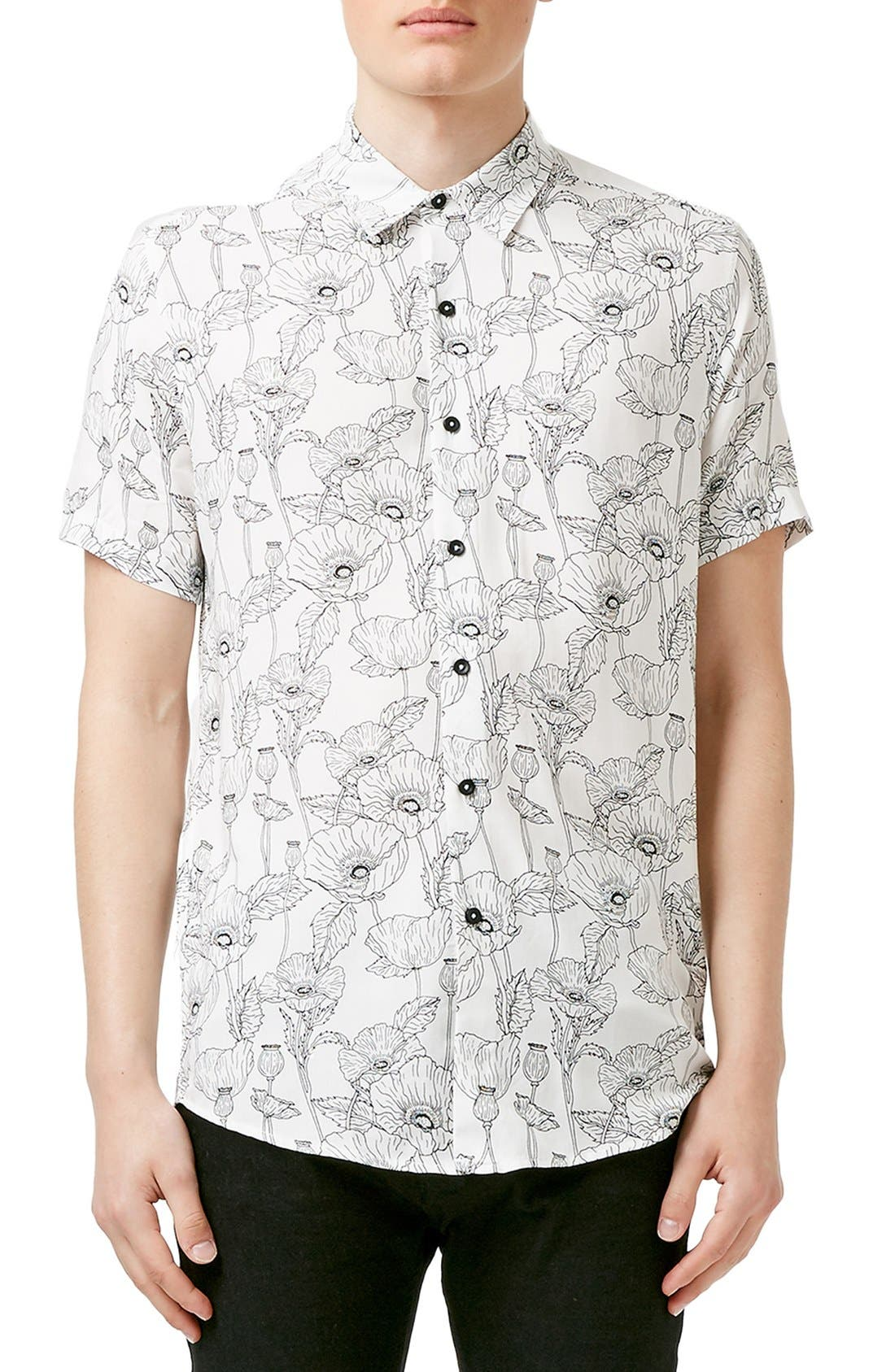 Main Image - Topman Slim Fit Short Sleeve Poppy Print Shirt