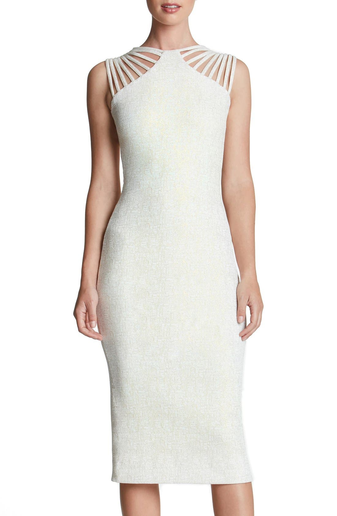 DRESS THE POPULATION 'Gwen' Foiled Knit Midi Dress