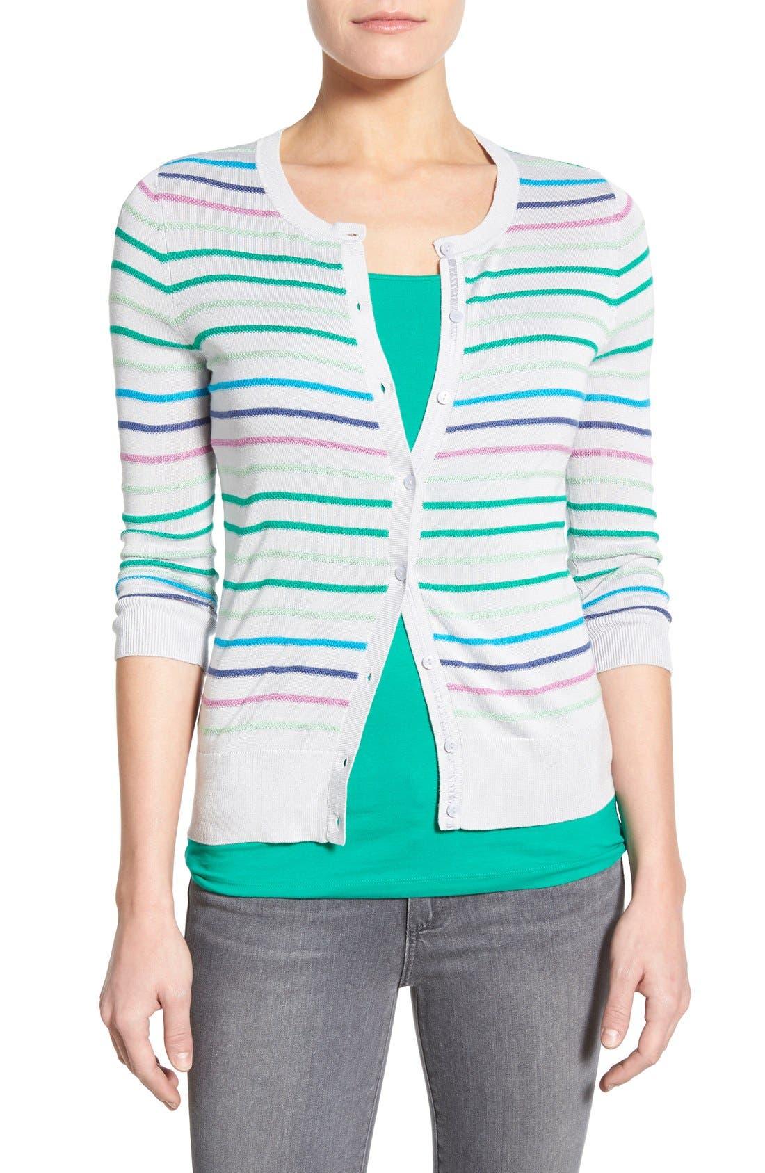 Main Image - Halogen® Three Quarter Sleeve Cardigan (Regular & Petite)