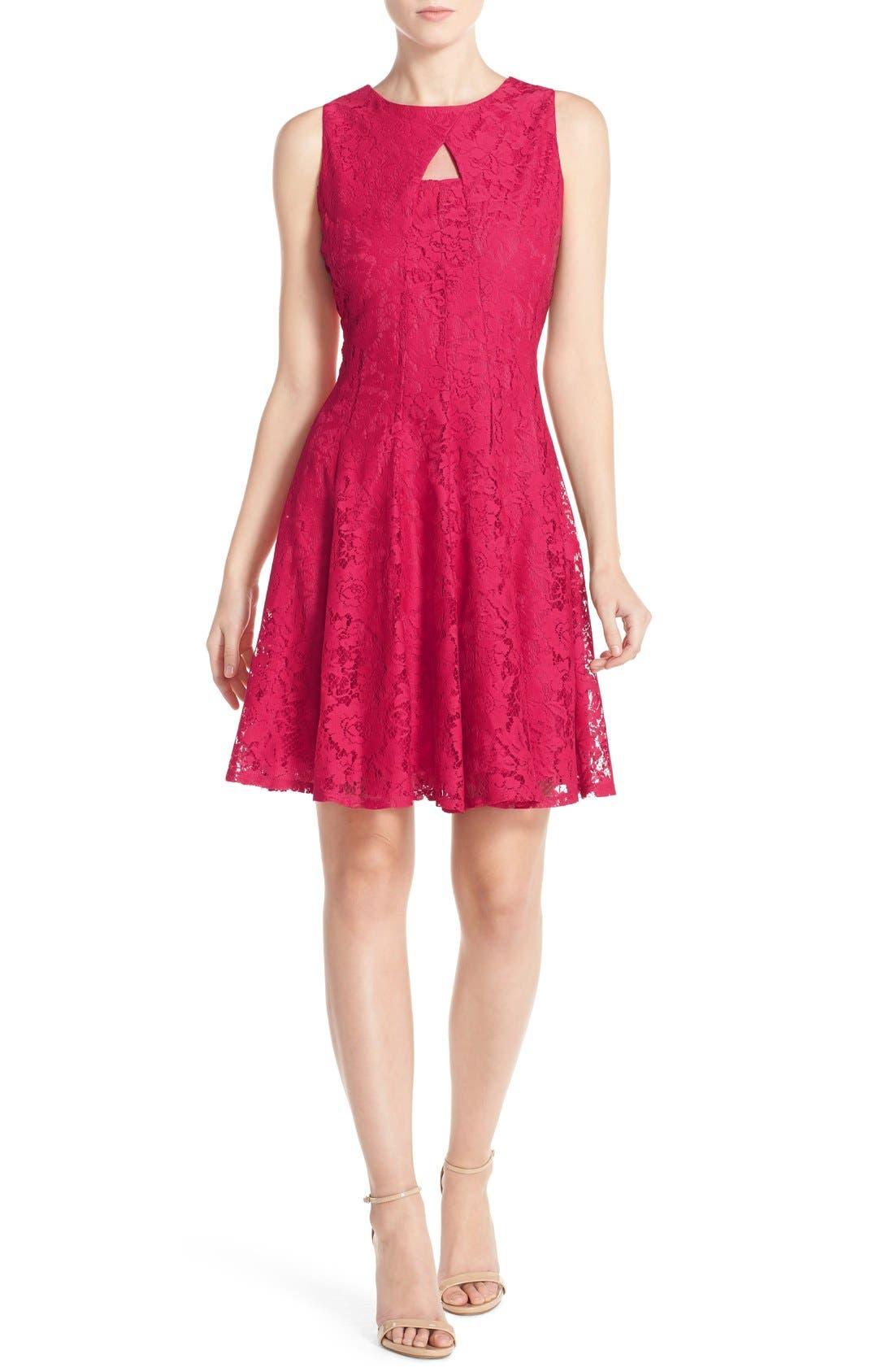 Alternate Image 4  - Gabby Skye Keyhole Neck Lace Fit & Flare Dress