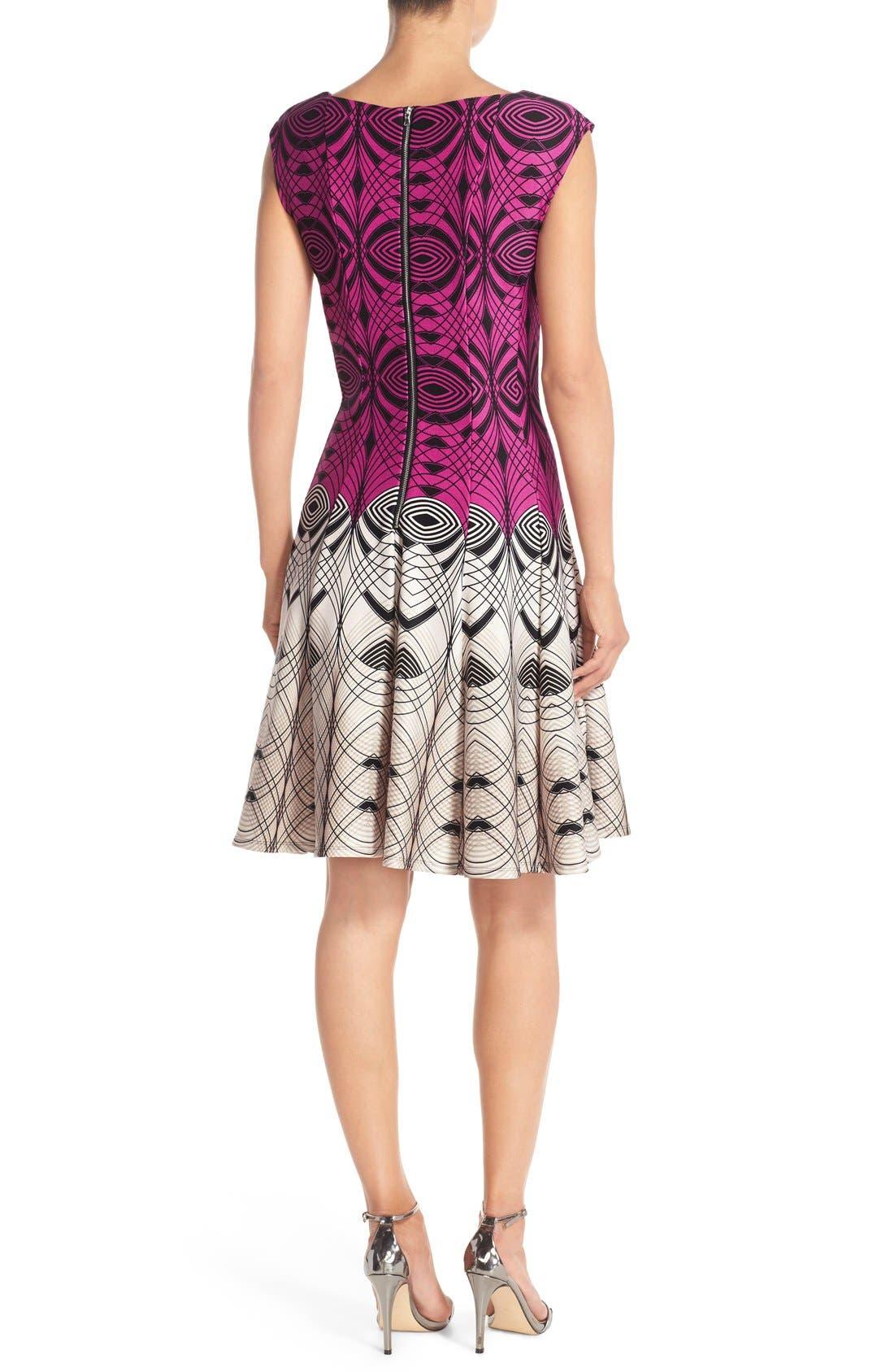 Alternate Image 2  - Gabby Skye Colorblock Print Scuba Fit & Flare Dress
