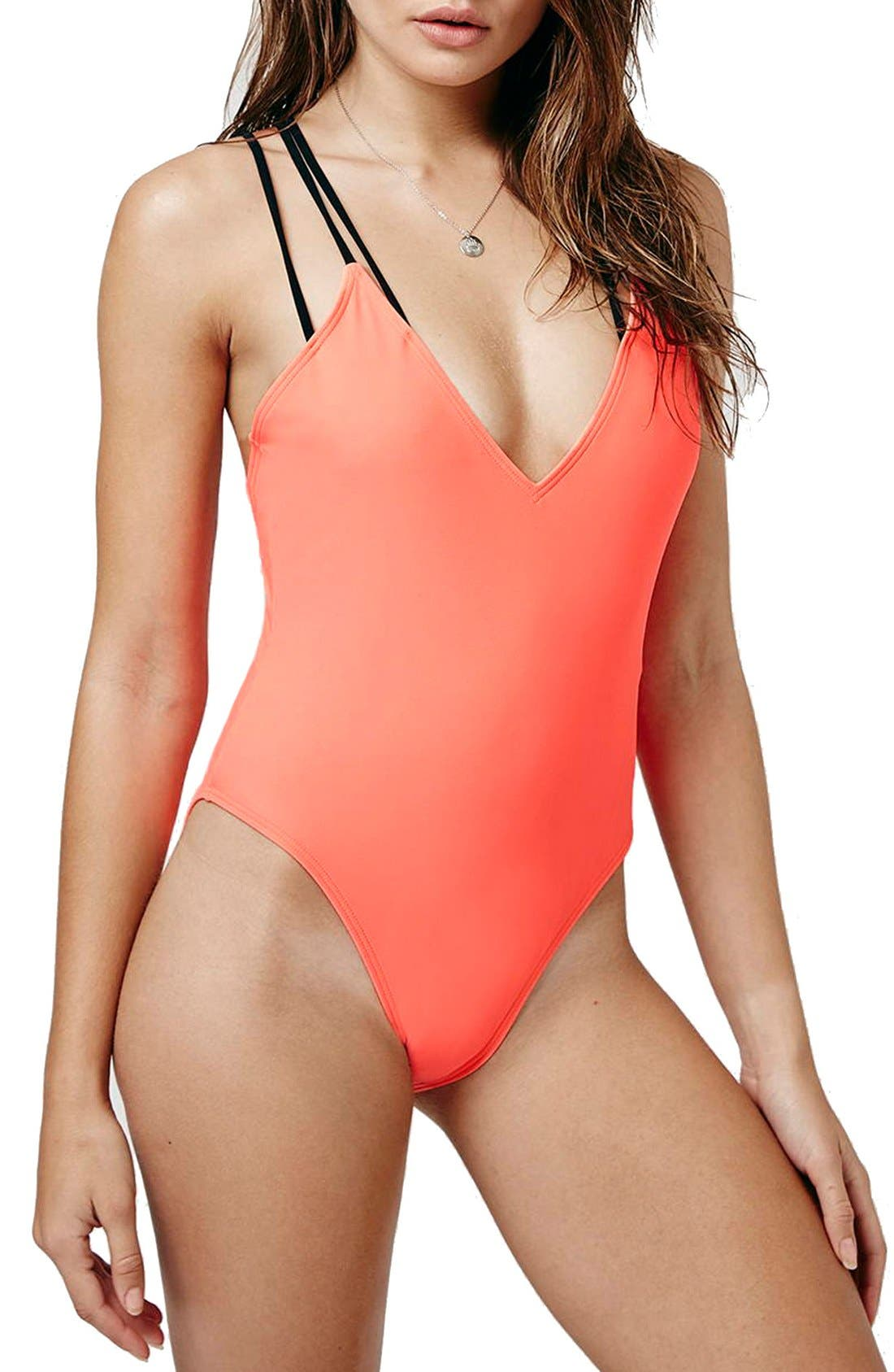 Alternate Image 1 Selected - Topshop Strappy Cross Back One-Piece Swimsuit