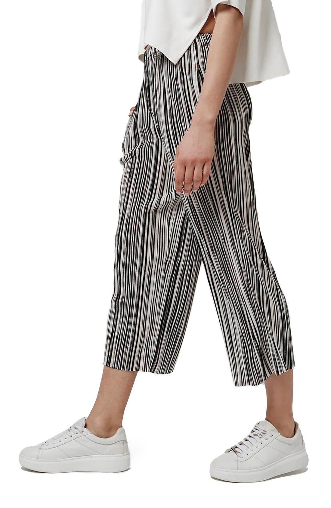 Main Image - Topshop Pleat Stripe Crop Trousers (Petite)