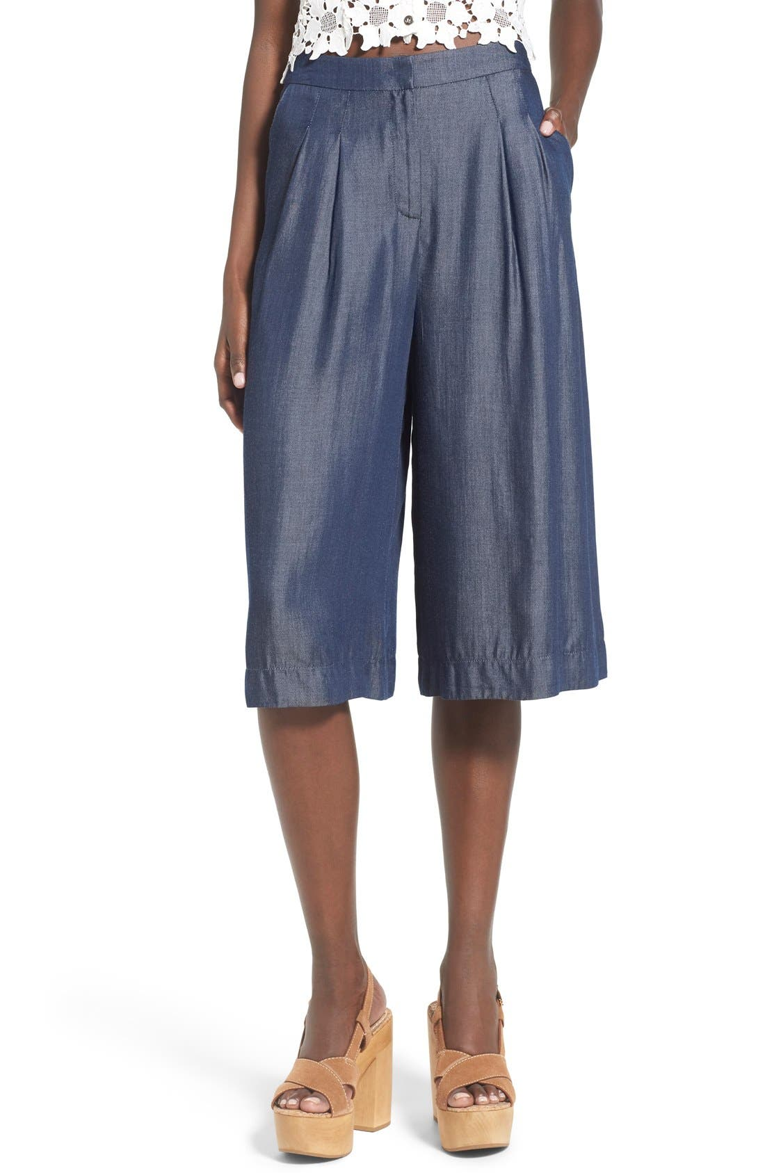 Alternate Image 1 Selected - ASTR 'Ashley' Chambray Culottes