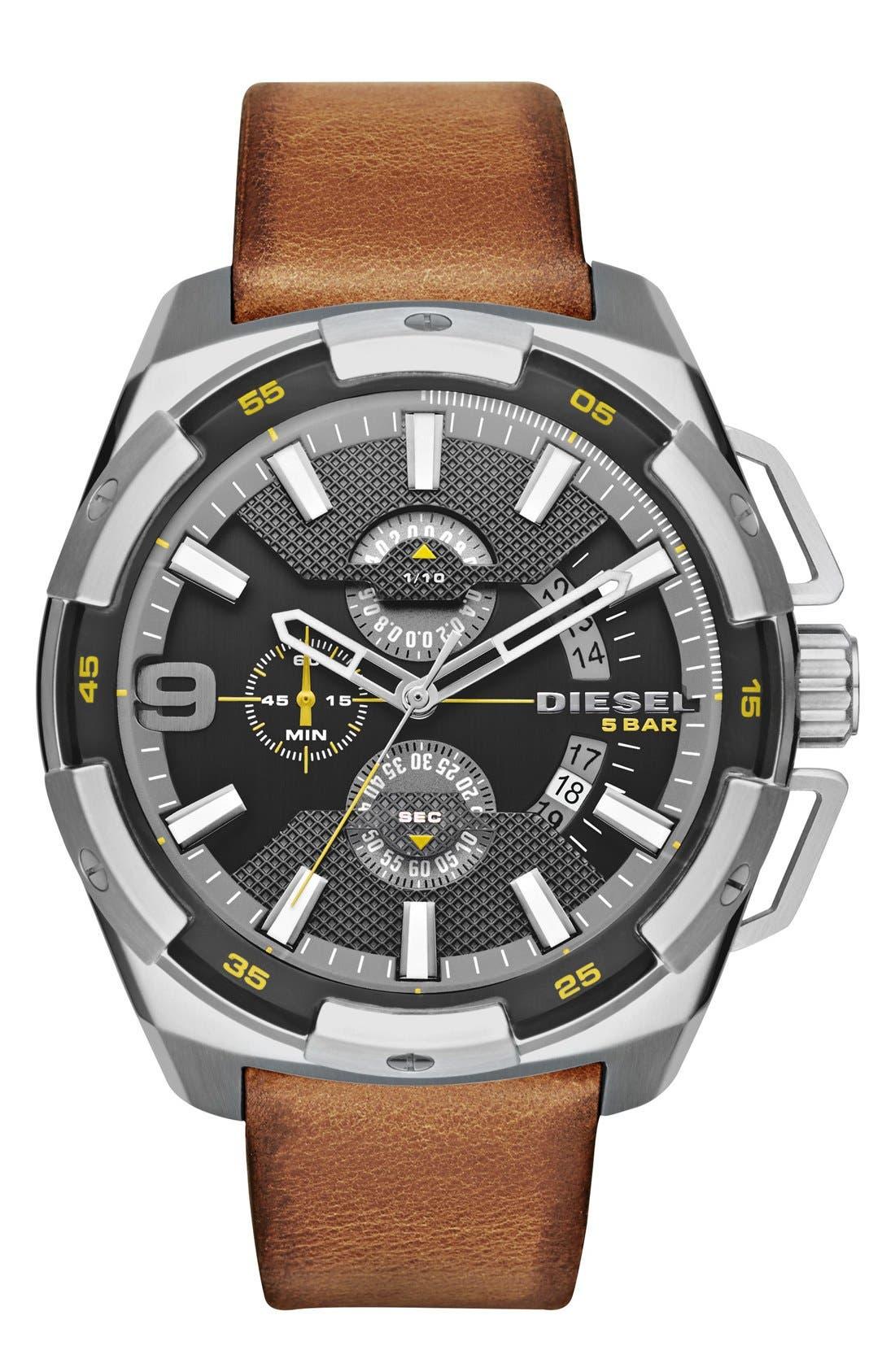 DIESEL® 'Heavyweight' Leather Strap Watch, 50mm