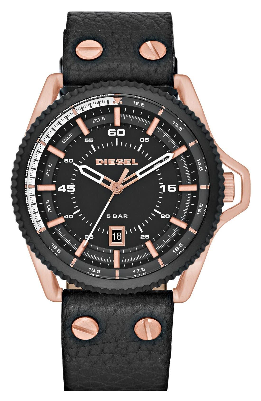 DIESEL® 'Rollcage' Leather Strap Watch, 46mm