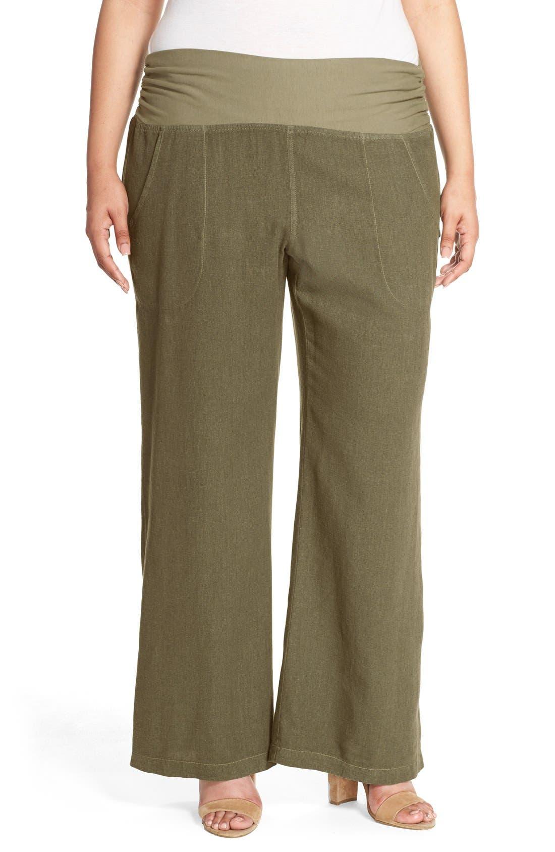 XCVI Wearables 'Redlands' Wide Leg Linen Pants (Plus Size)