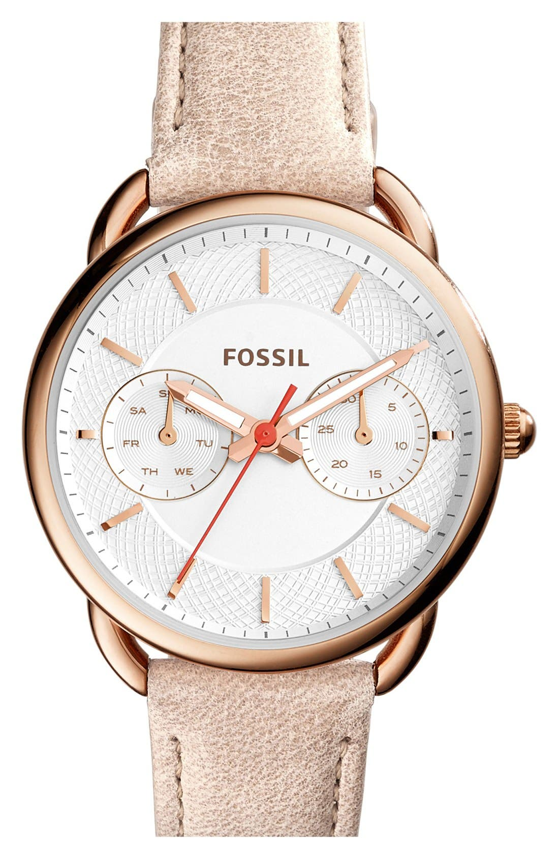 Fossil 'Tailor' Multifunction Leather Strap Watch, 35mm