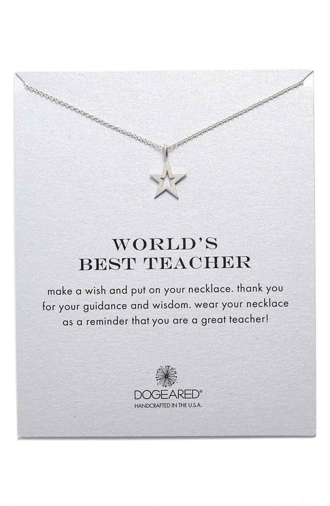 Alternate Image 1 Selected - Dogeared 'Best Teacher' Star Pendant Necklace