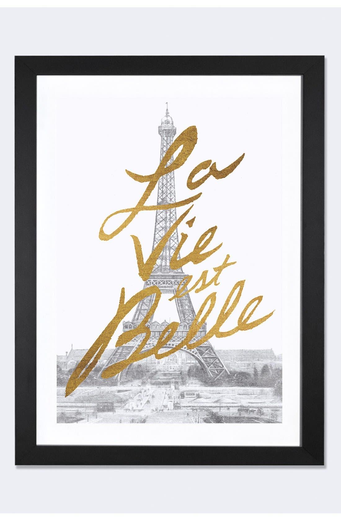 Alternate Image 1 Selected - iCanvas 'Gilded Paris - La Vie est Belle' Framed Fine Art Print