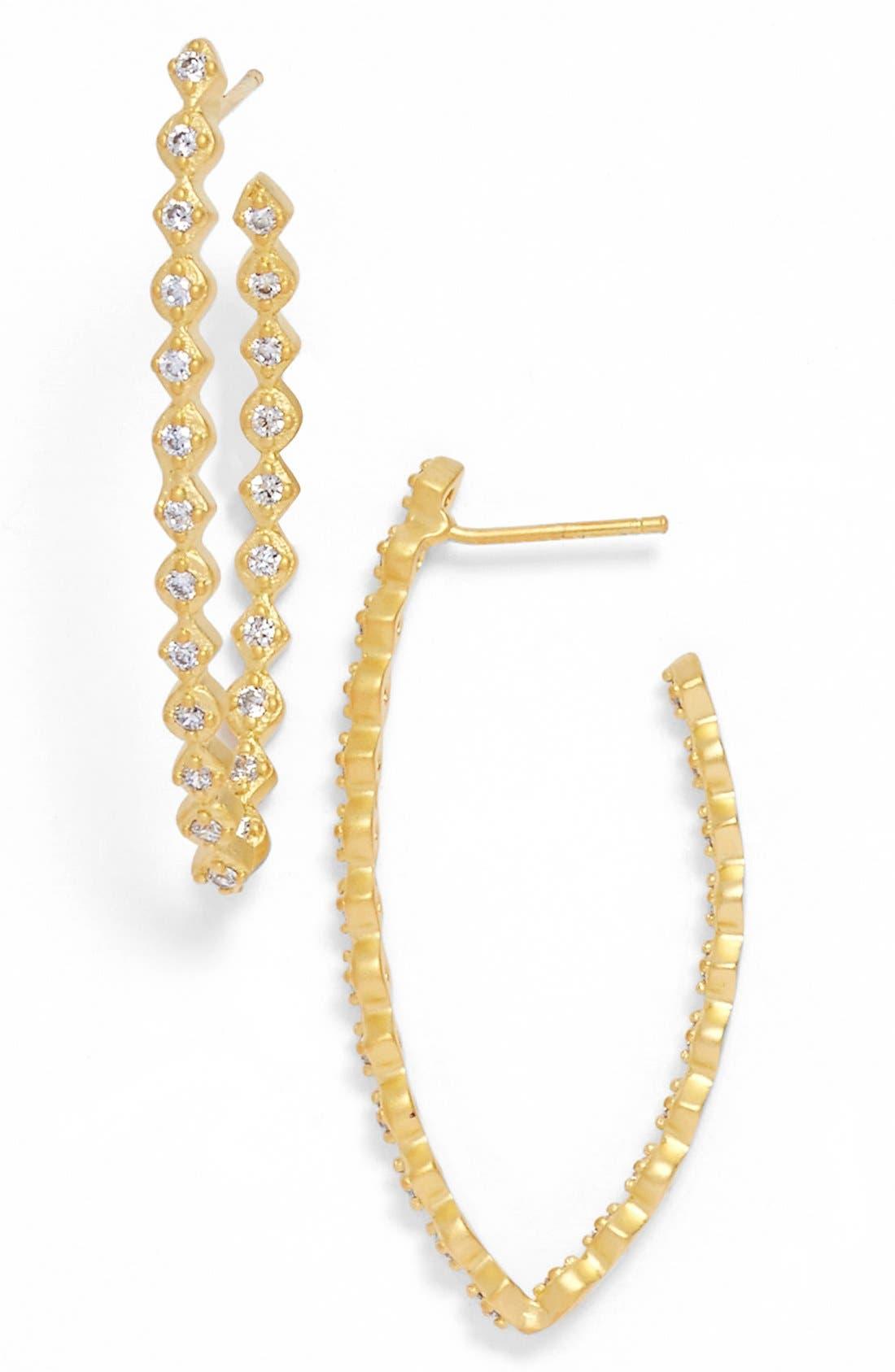 Main Image - FREIDA ROTHMAN 'Textured Pearl' Cubic Zirconia Elongated Hoop Earrings