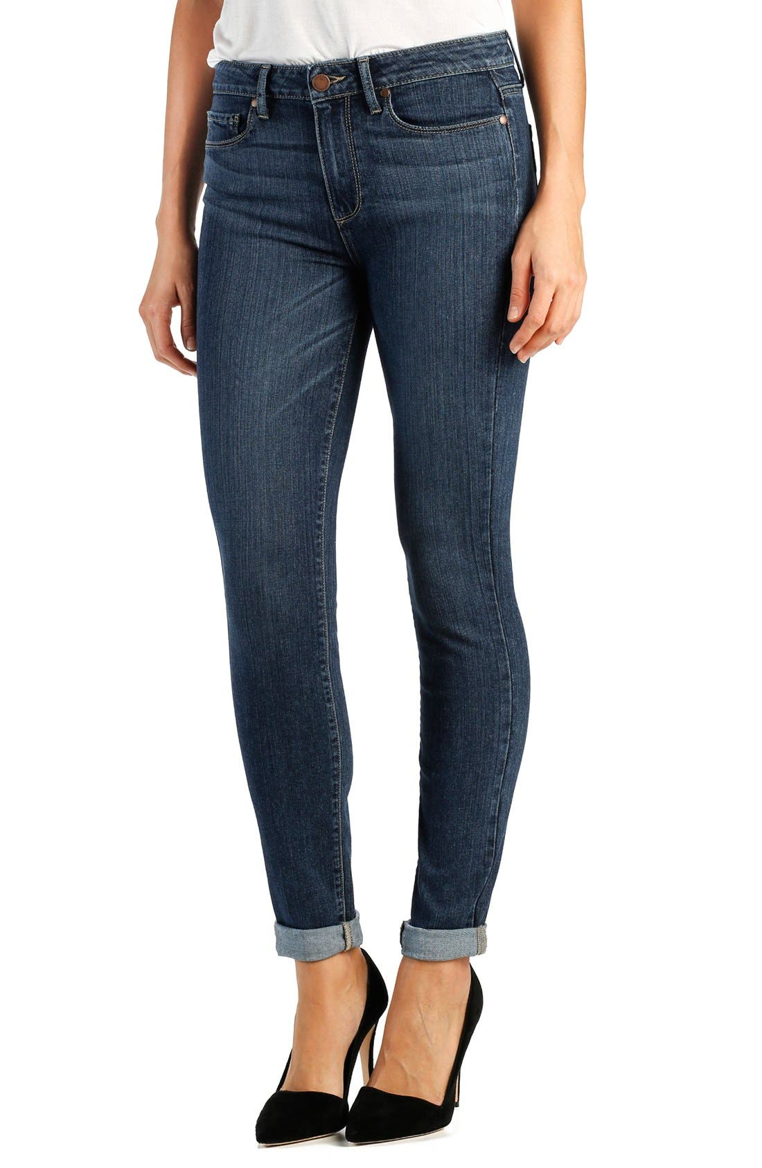 Main Image - Paige Denim 'Transcend - Hoxton' High Rise Cuffed Crop Skinny Jeans (Electra)
