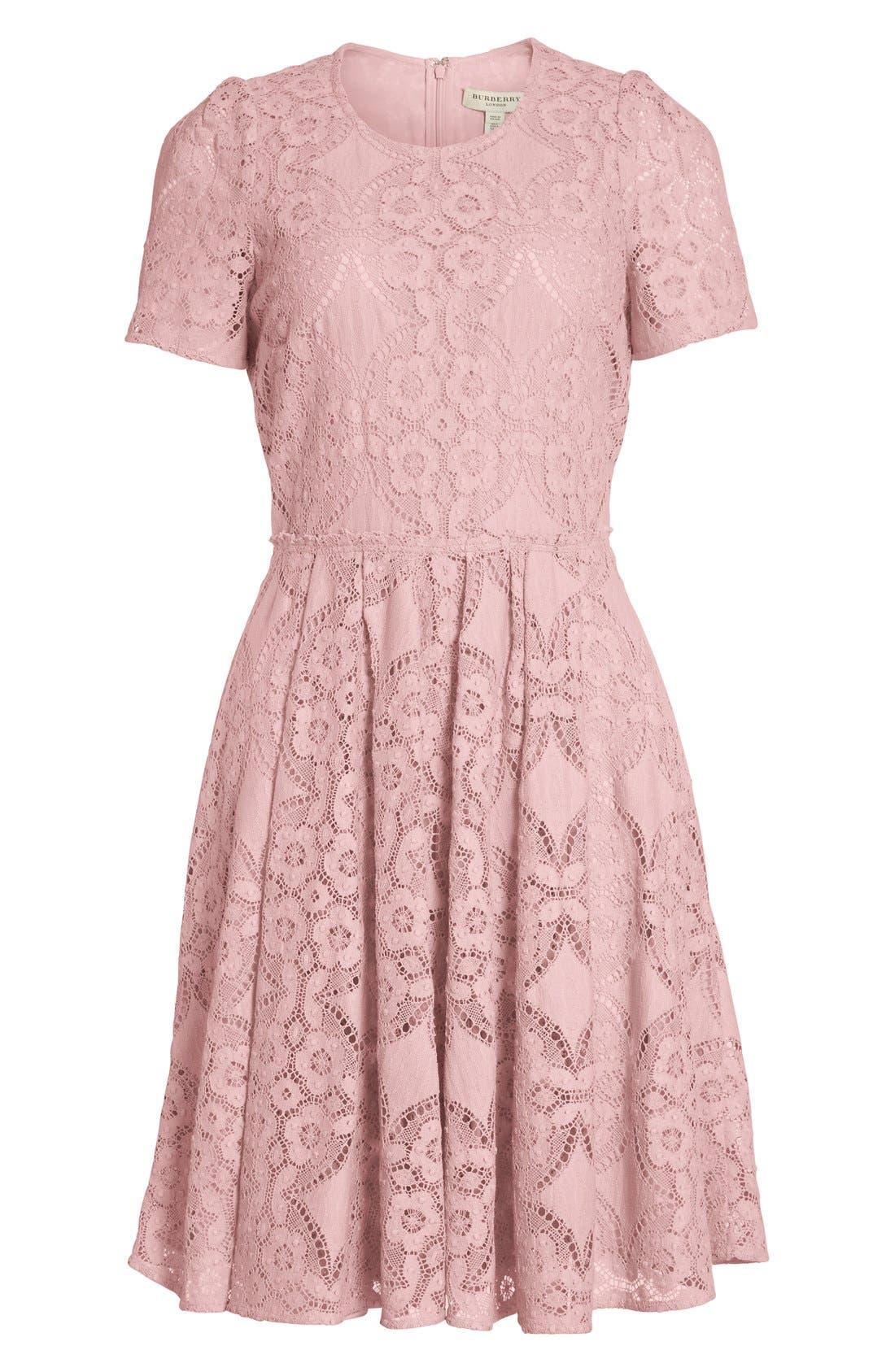 Alternate Image 3  - Burberry London 'Velma' Short Sleeve Lace Fit & Flare Dress