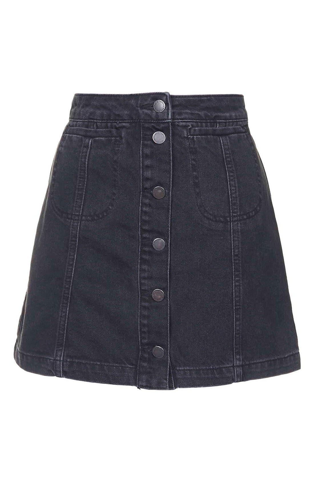 Alternate Image 4  - Topshop Button Front Denim A-Line Skirt