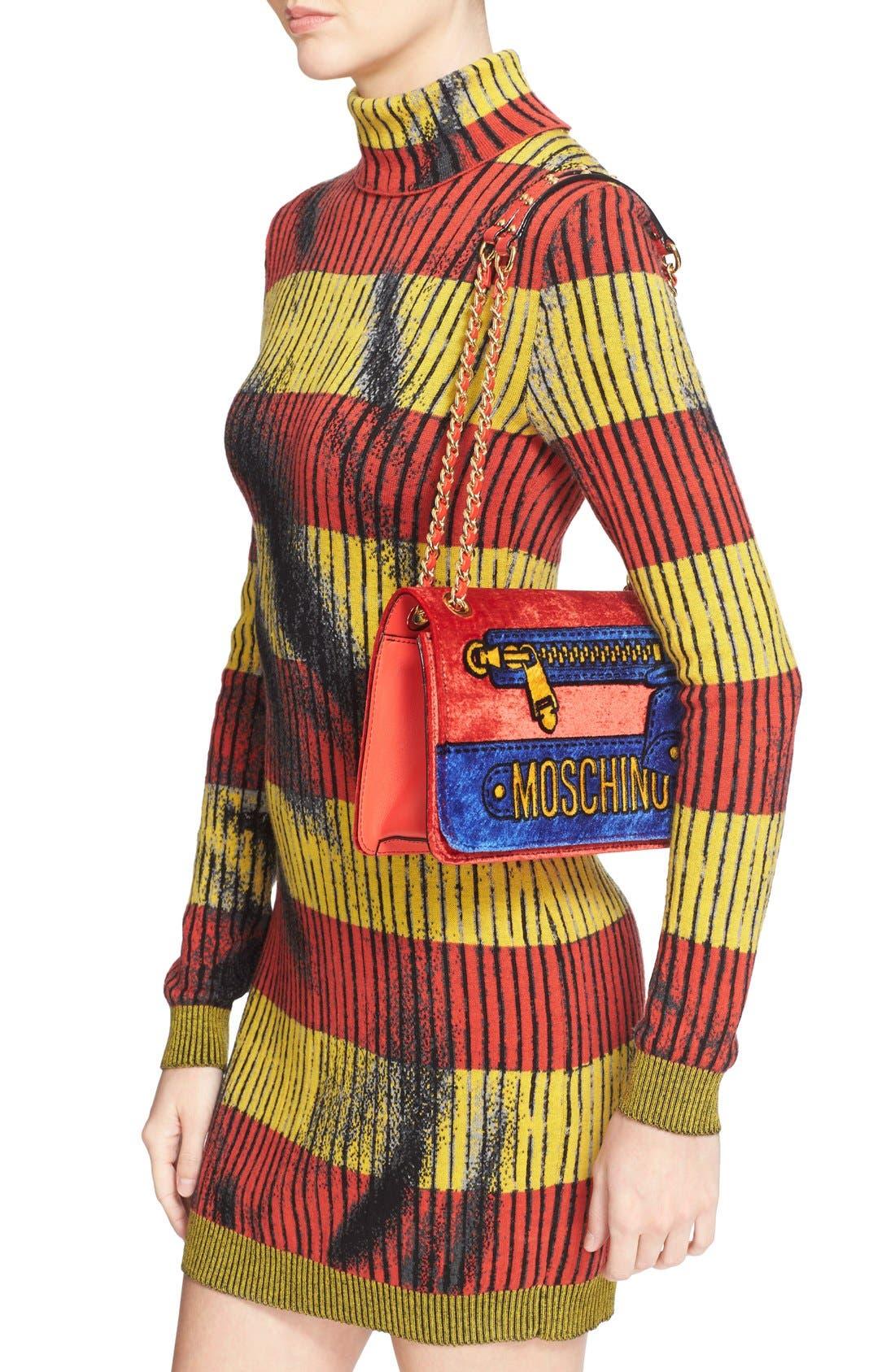 Alternate Image 2  - Moschino Velvet Convertible Shoulder Bag