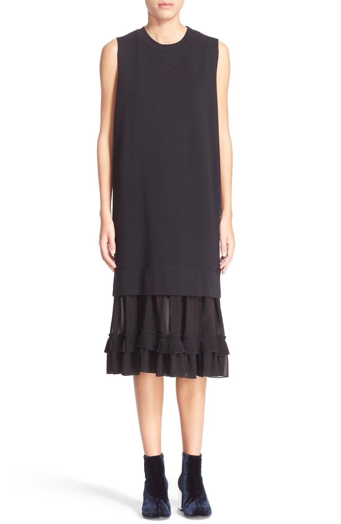 Alternate Image 1 Selected - MM6 Maison Margiela Chiffon Hem Sweatshirt Dress