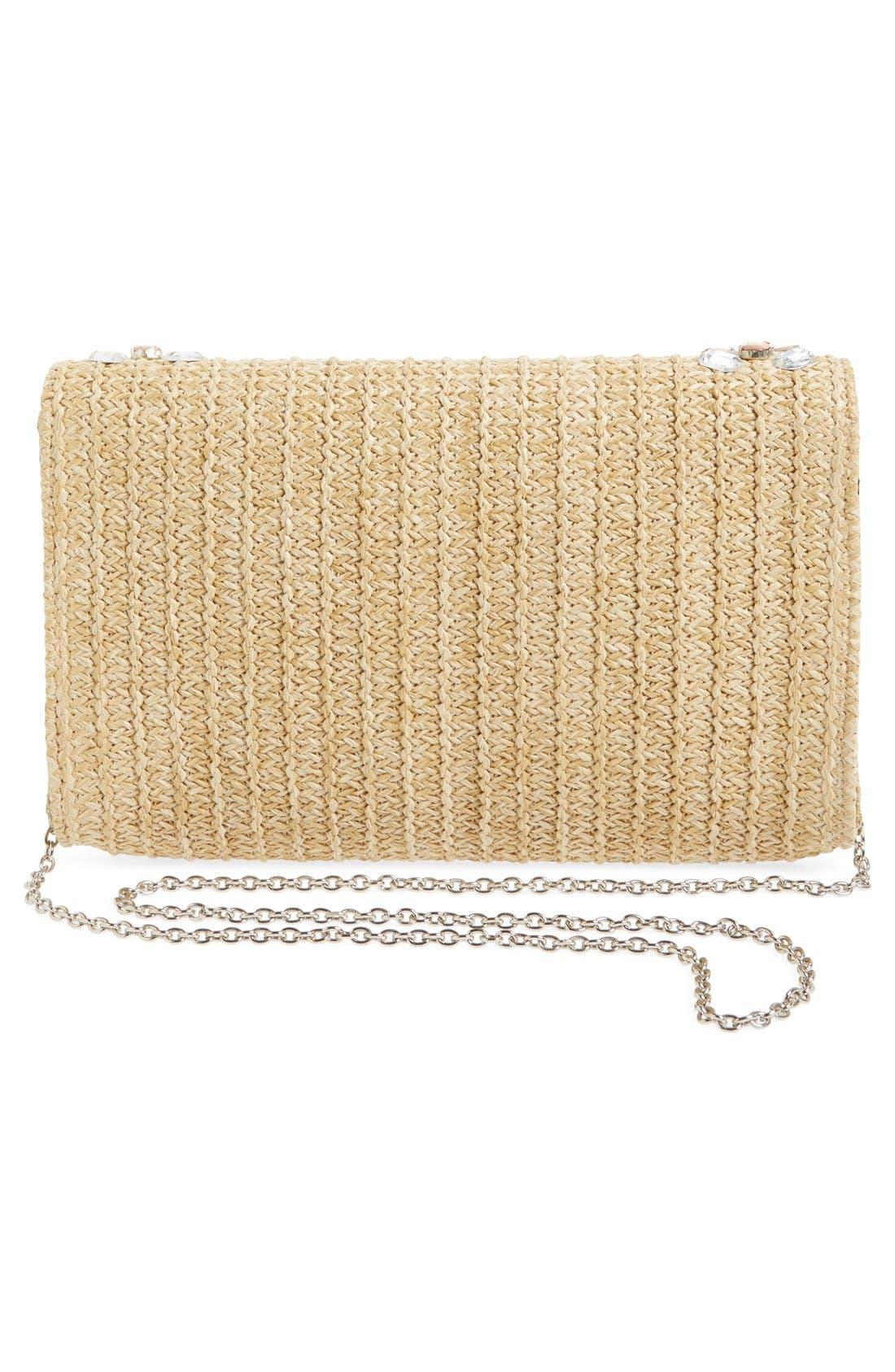 Alternate Image 3  - Glint Embellished Straw Clutch