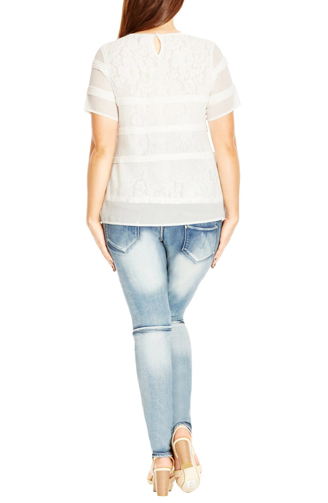Alternate Image 2  - City Chic Pintuck Lace Layer Top (Plus Size)