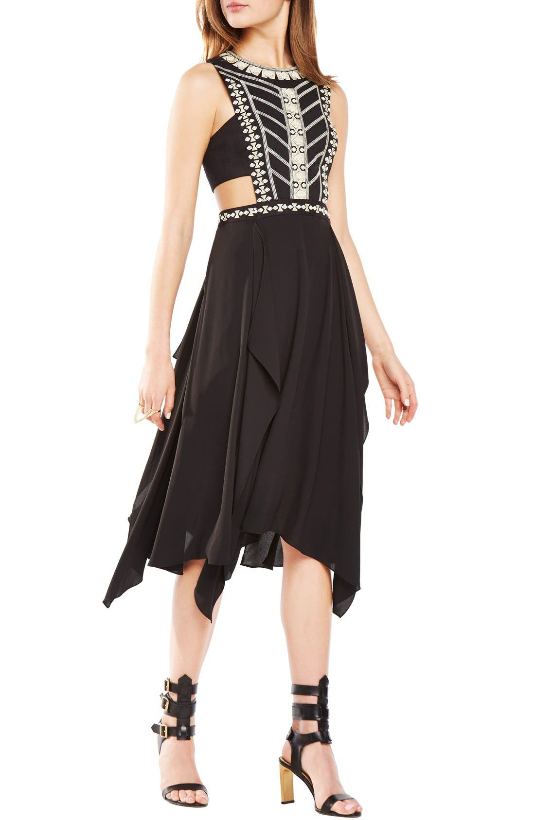 Alternate Image 1 Selected - BCBGMAXAZRIA 'Adelia' Cutout Embellished Georgette Midi Dress