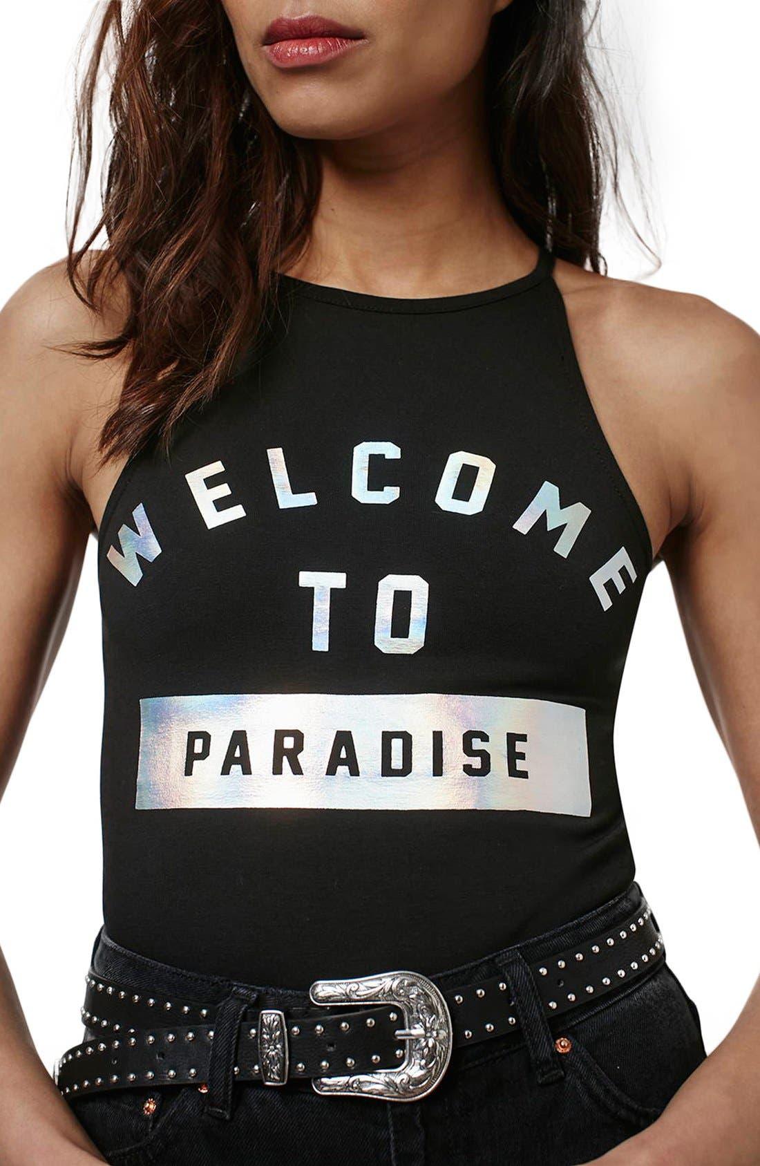 Alternate Image 4  - Topshop 'Paradise' Foil Bodysuit