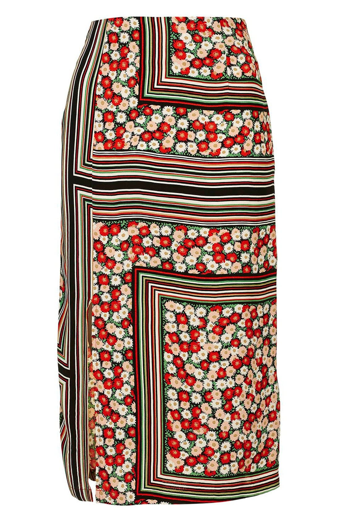 Alternate Image 4  - Topshop Floral Stripe Midi Skirt