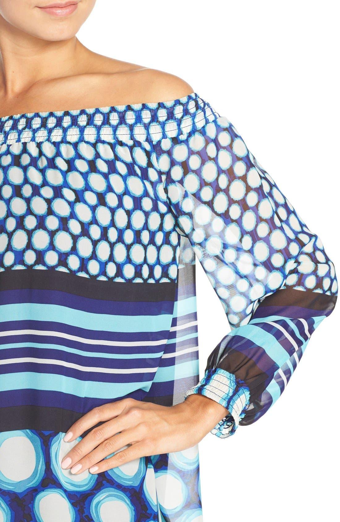 Alternate Image 4  - ECI Off the Shoulder Print Chiffon Trapeze Dress