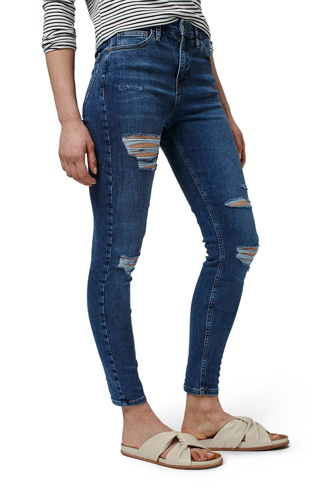 Alternate Image 1 Selected - Topshop Moto 'Jamie' Super Ripped Skinny Jeans