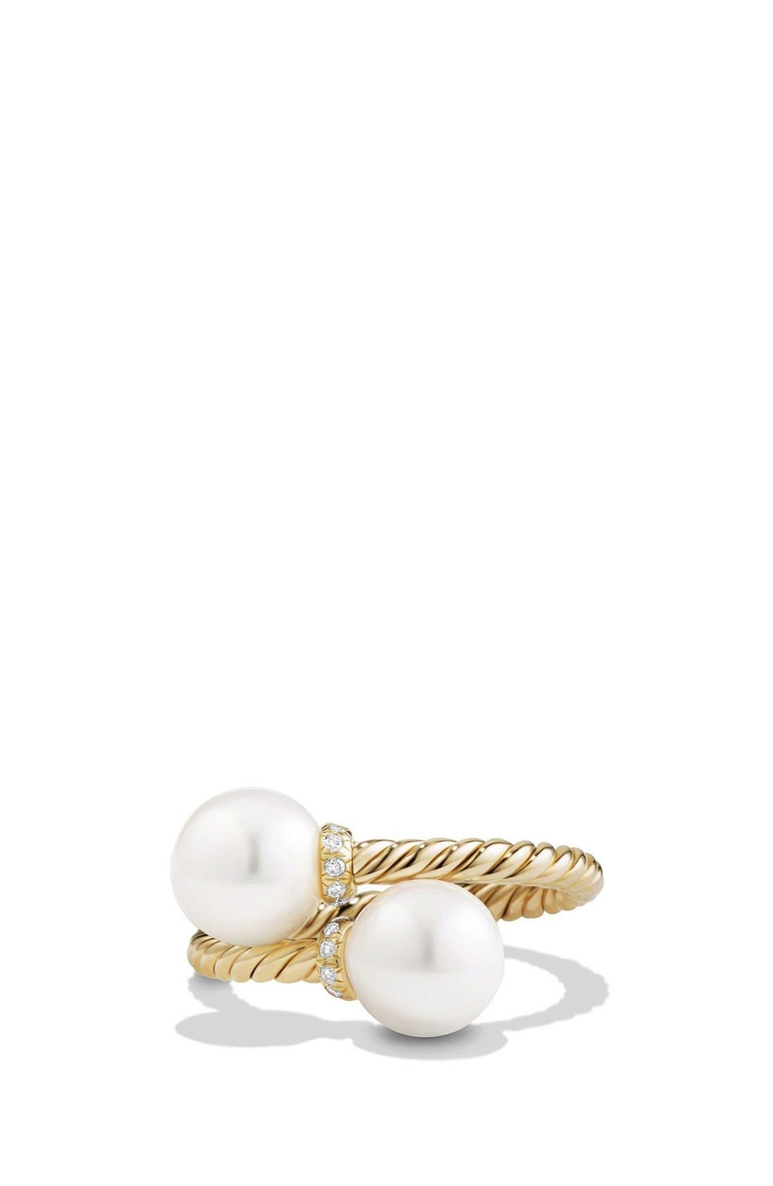 David Yurman 'Solari' Bead Ring with Diamonds and Pearls in 18K Gold