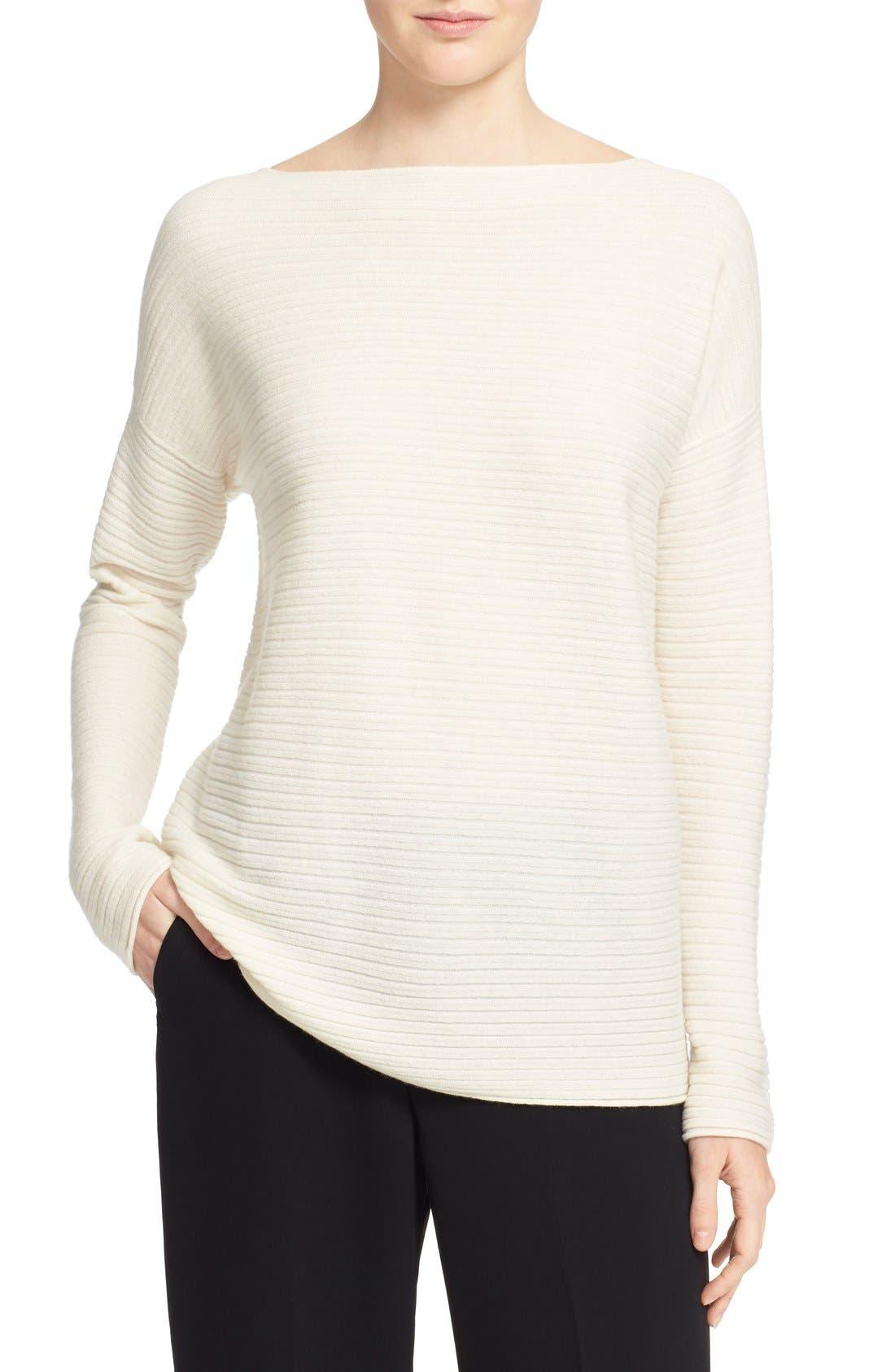 Alternate Image 1 Selected - Vince Boatneck Horizontal Rib Cashmere Sweater
