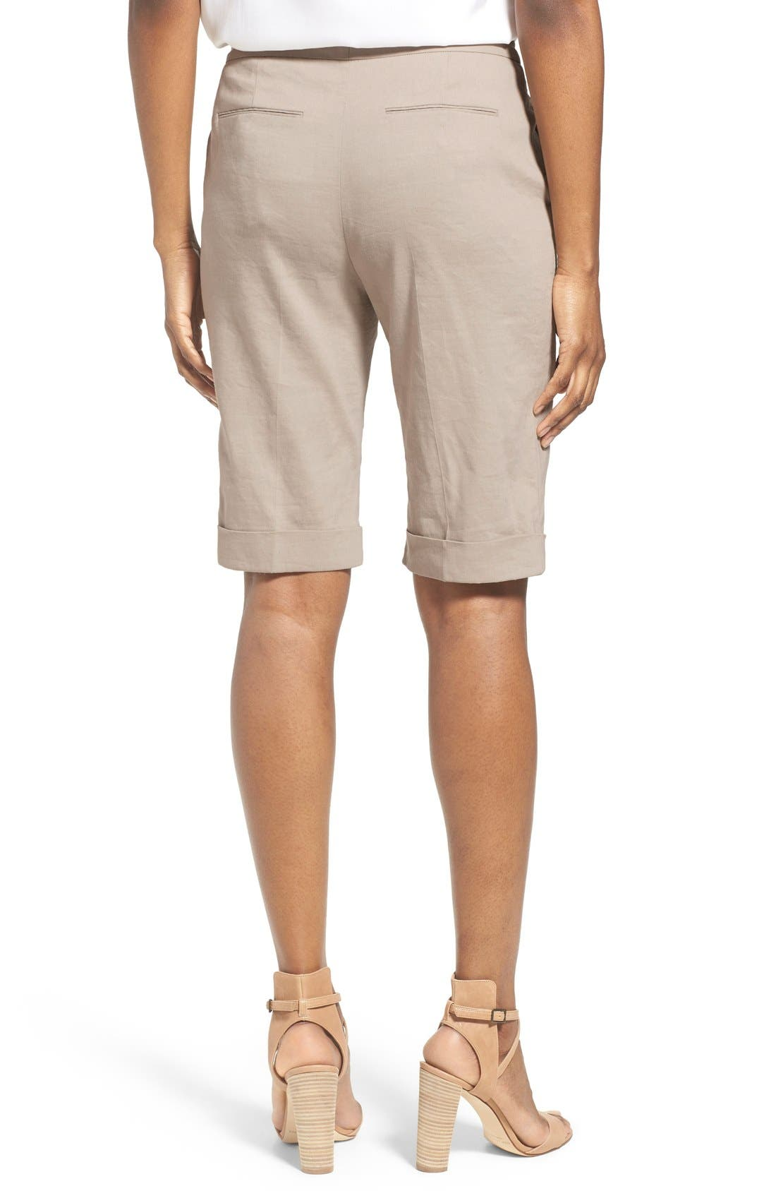 Alternate Image 2  - Elie Tahari 'City' Cuff Linen Blend Walking Shorts