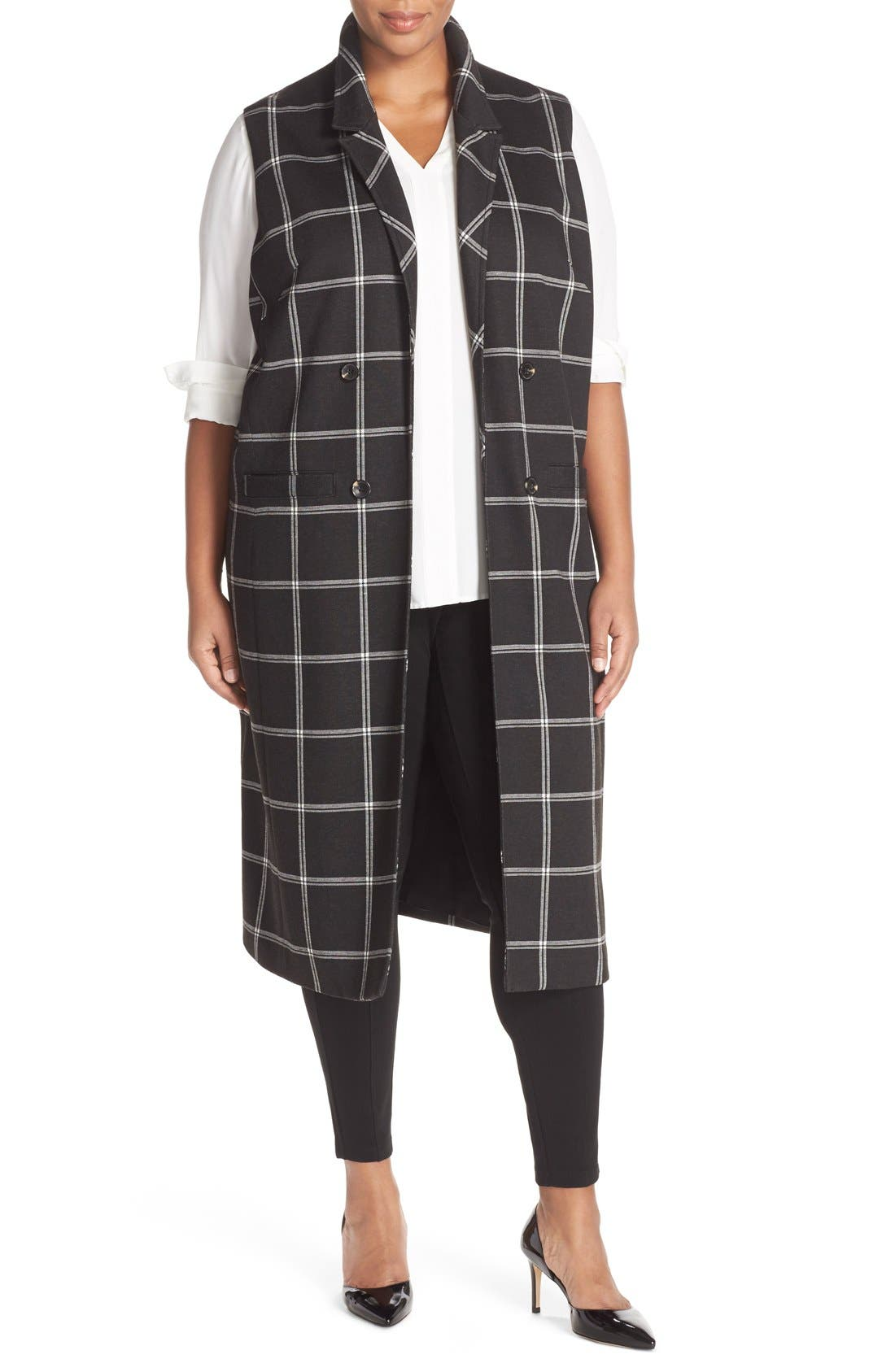 Main Image - Halogen® Windowpane Check Long Vest (Plus Size)