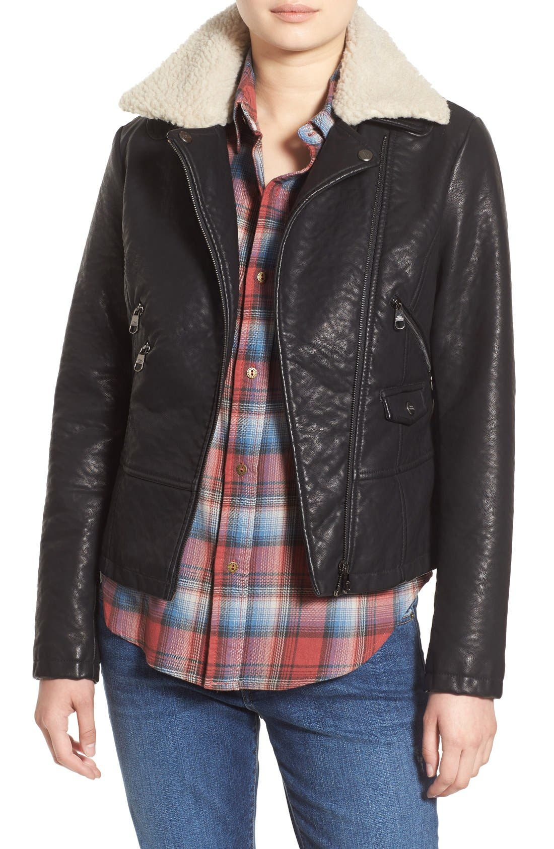 Alternate Image 1 Selected - Steve Madden Faux Leather Moto Jacket with Faux Shearling Collar