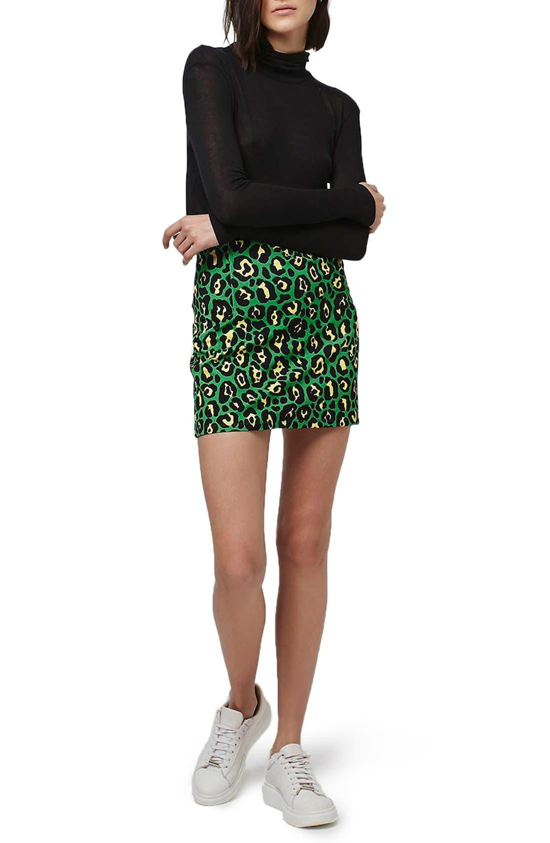 Alternate Image 2  - Topshop 'Rio' Leopard Print Miniskirt