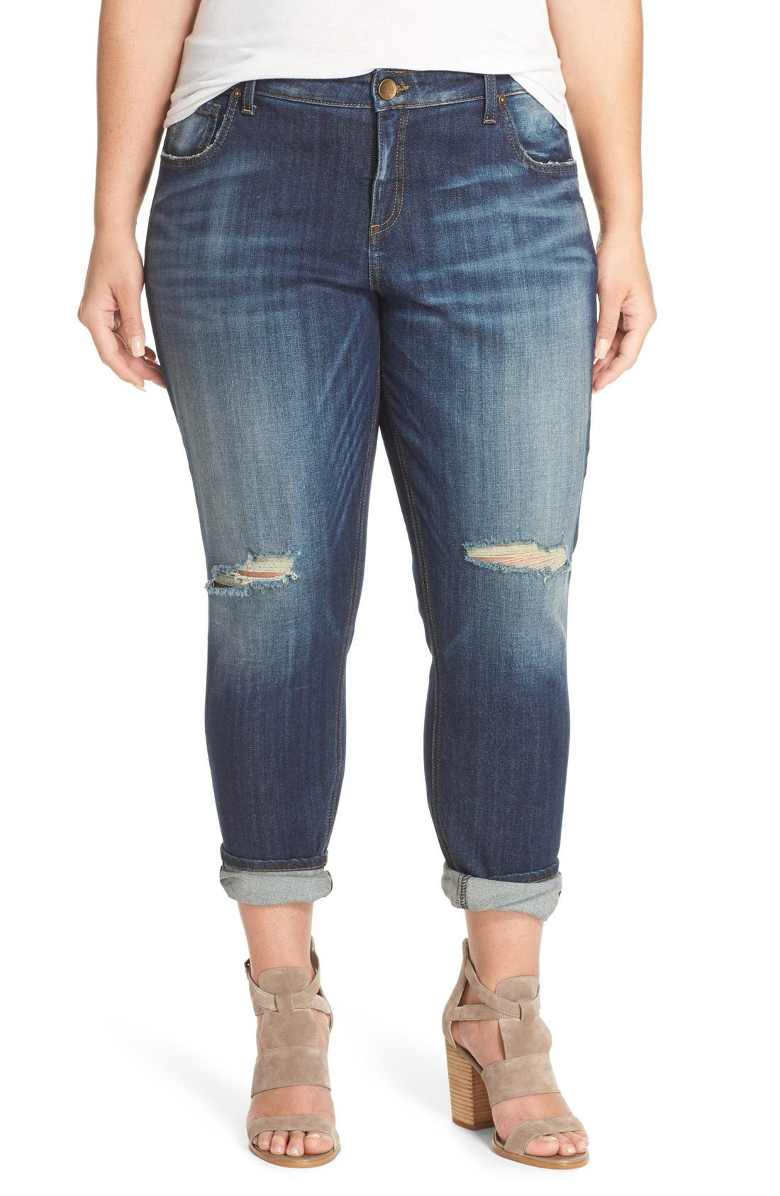 KUT FROM THE KLOTH 'Catherine' Ripped Boyfriend Jeans