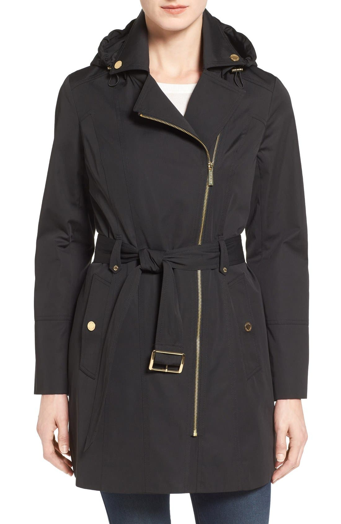 Main Image - MICHAEL Michael Kors Asymmetrical Zip Front Hooded Trench Coat (Regular & Petite)
