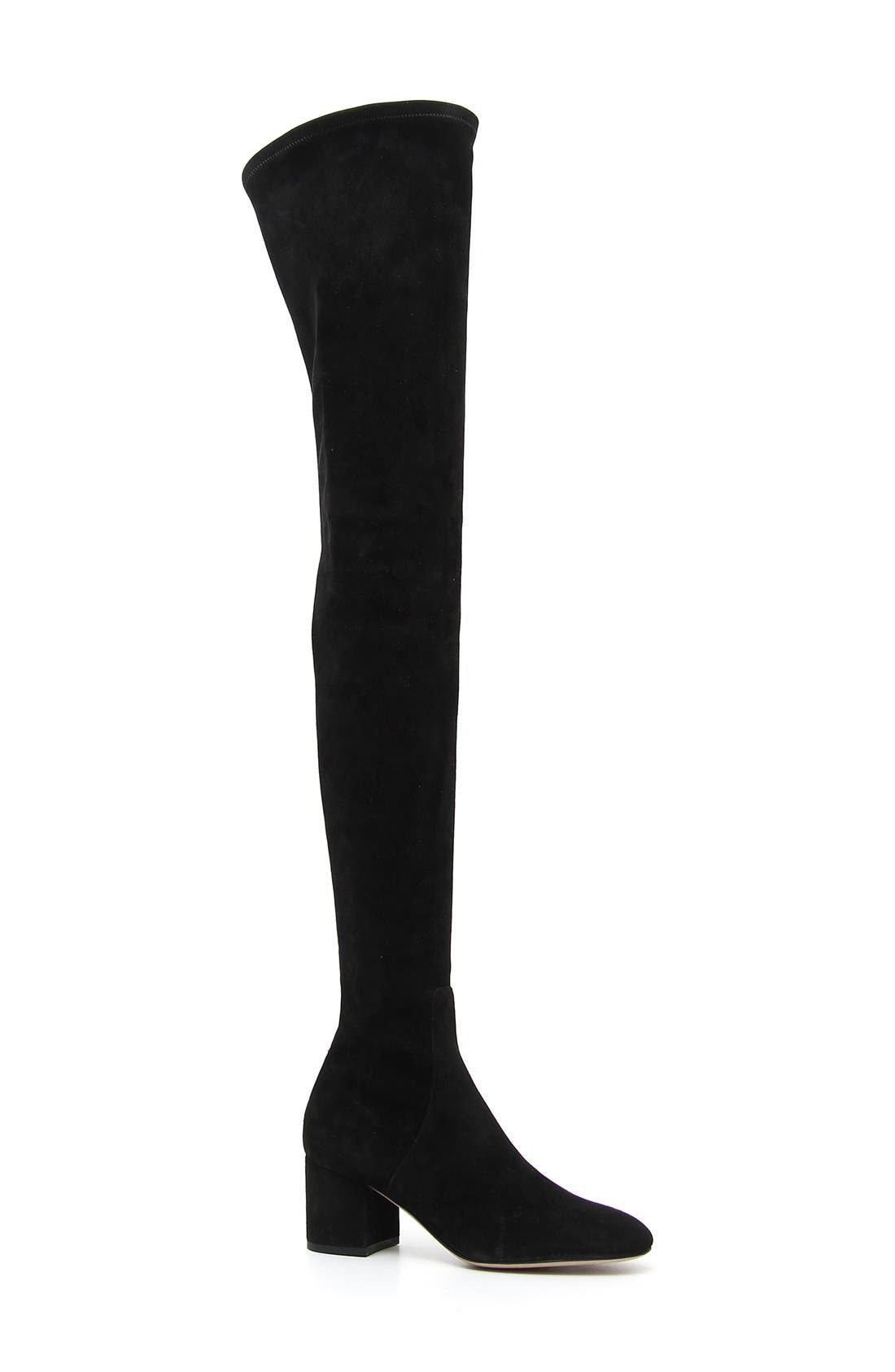 Main Image - Valentino Stretch Suede Over the Knee Boot (Women)