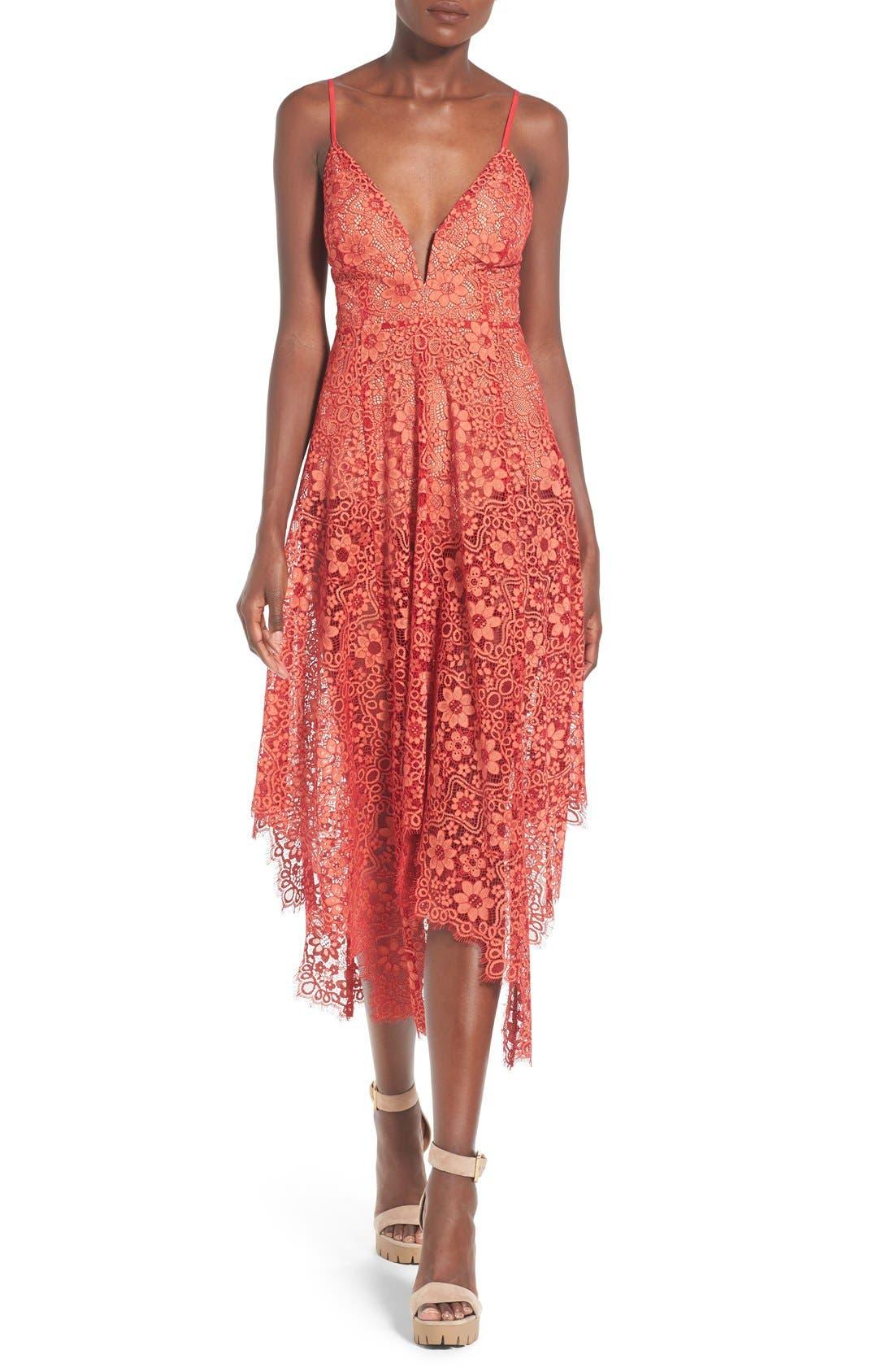 Main Image - For Love & Lemons 'Rosemary' Handkerchief Hem Lace Midi Dress