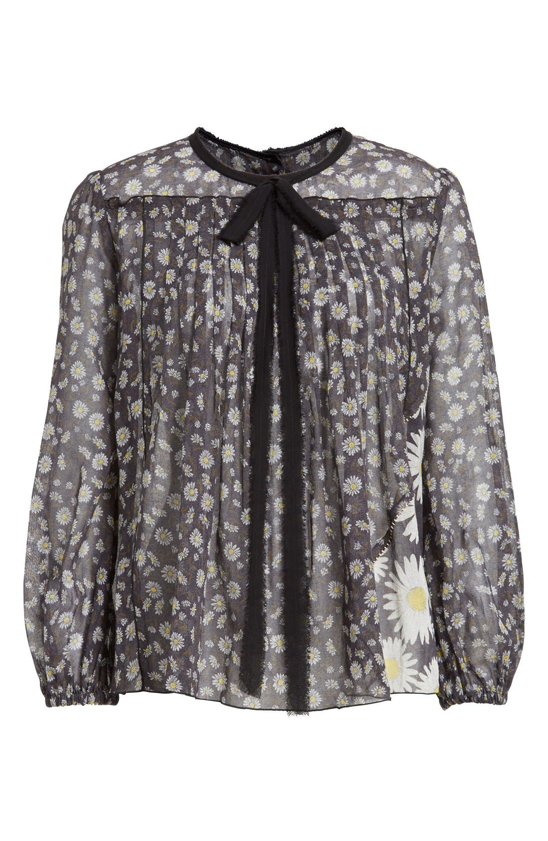 Alternate Image 4  - MARC JACOBS Daisy Print Sheer Tie Neck Peasant Blouse
