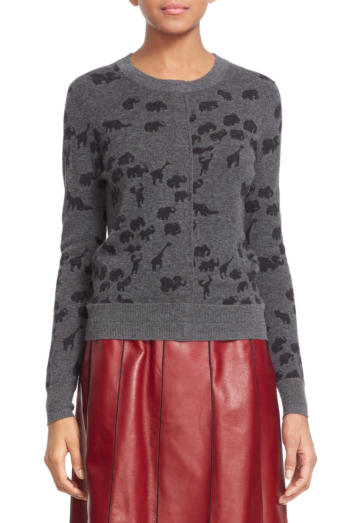 Alternate Image 1  - MARC JACOBS Animal Jacquard Cashmere Sweater