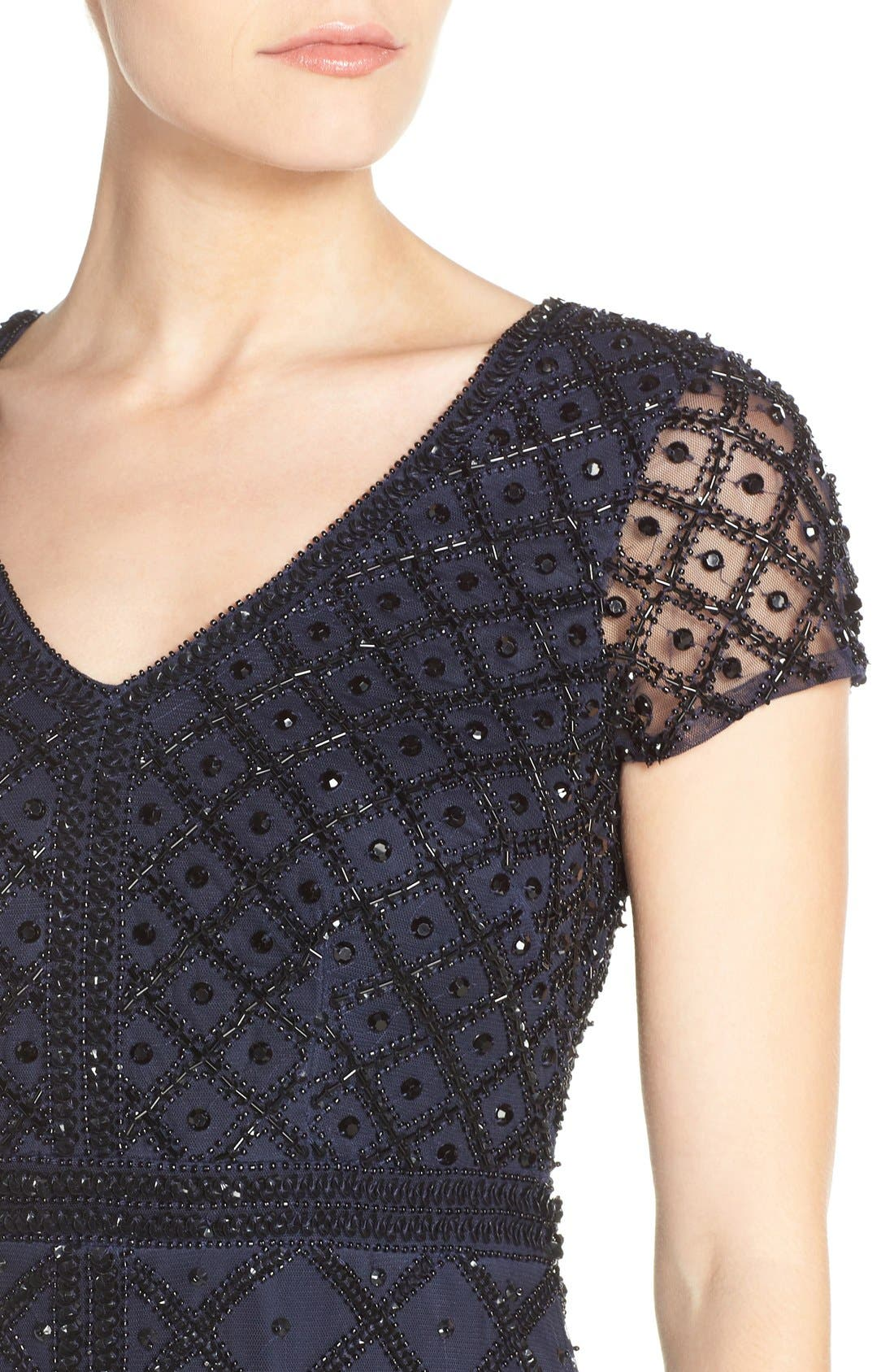 Alternate Image 4  - Adrianna Papell Beaded Mesh Gown