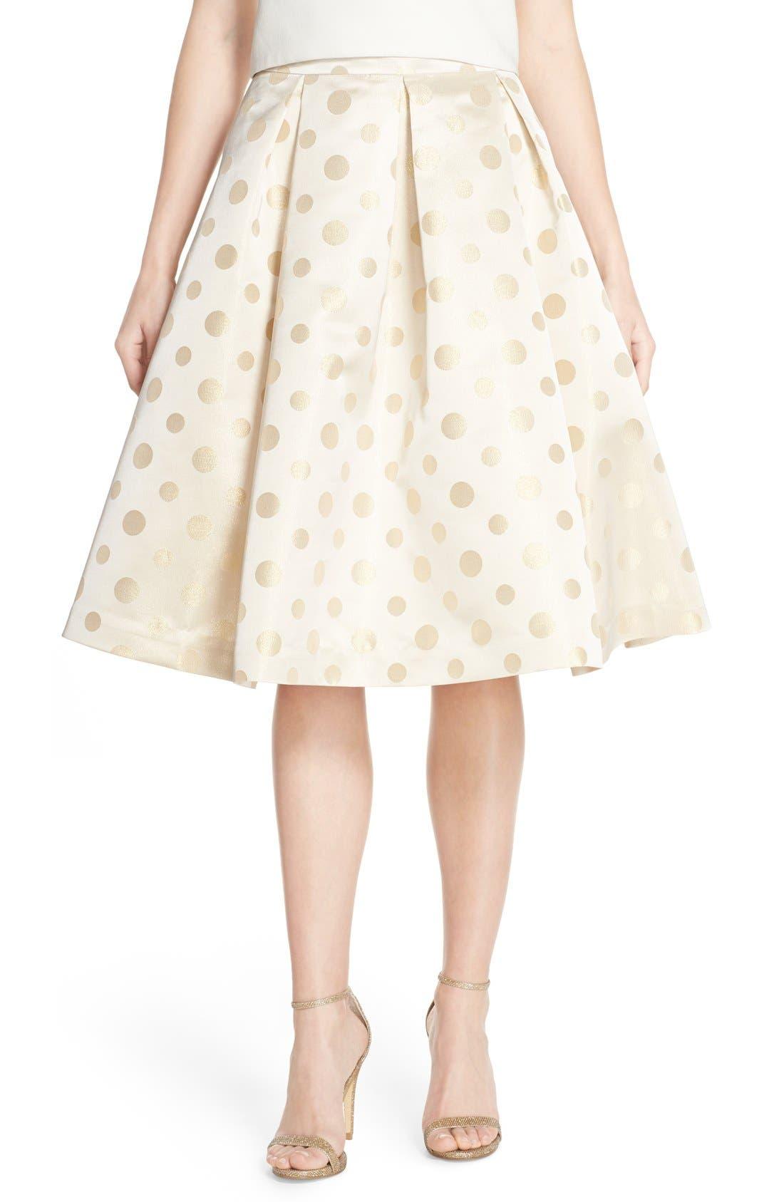 Main Image - Eliza J Polka Dot Metallic Midi Skirt
