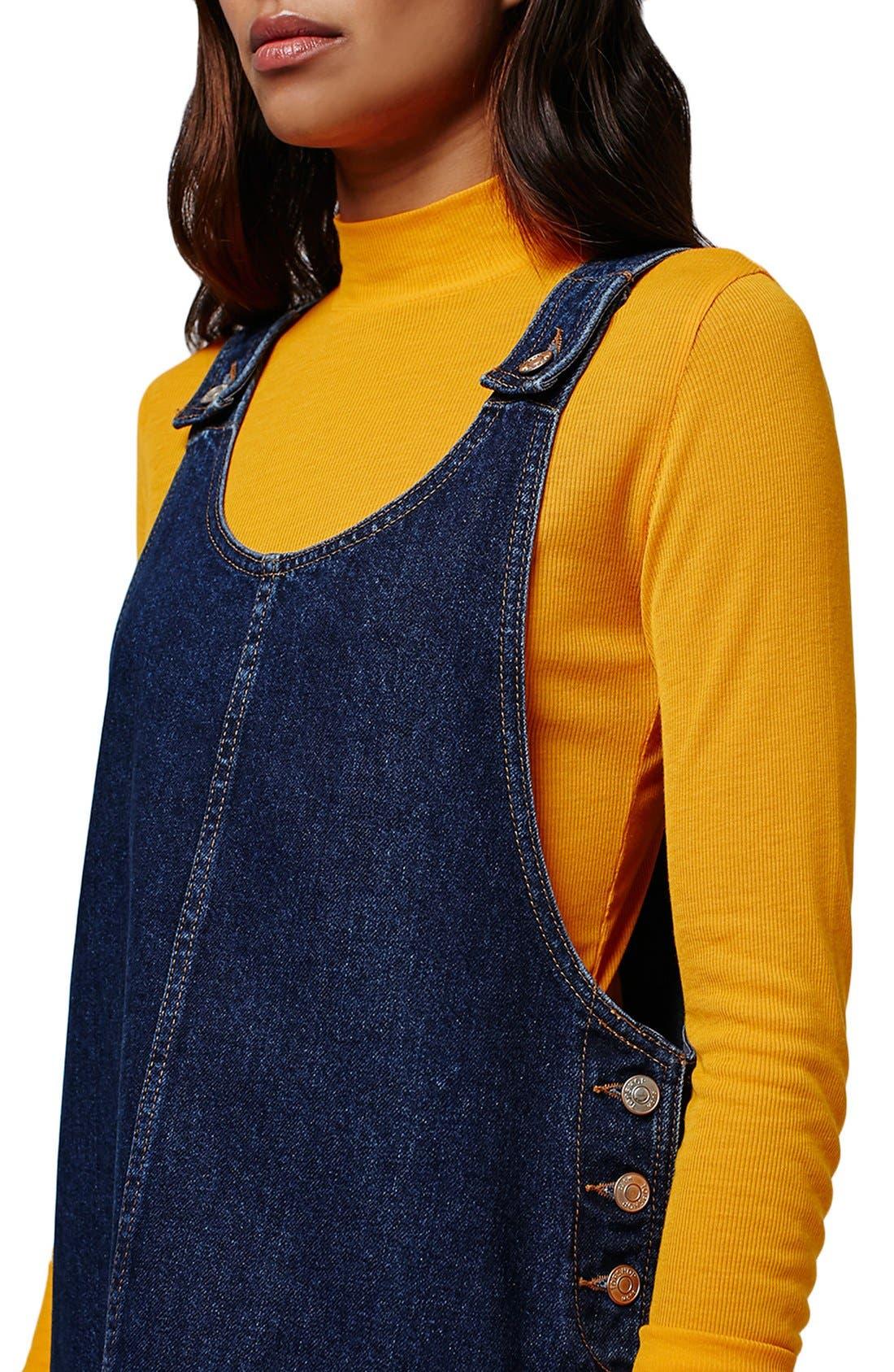 Alternate Image 5  - Topshop Patch Pocket Denim Pinafore Dress