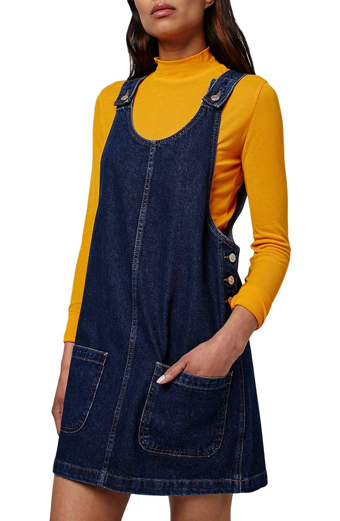 Alternate Image 4  - Topshop Patch Pocket Denim Pinafore Dress
