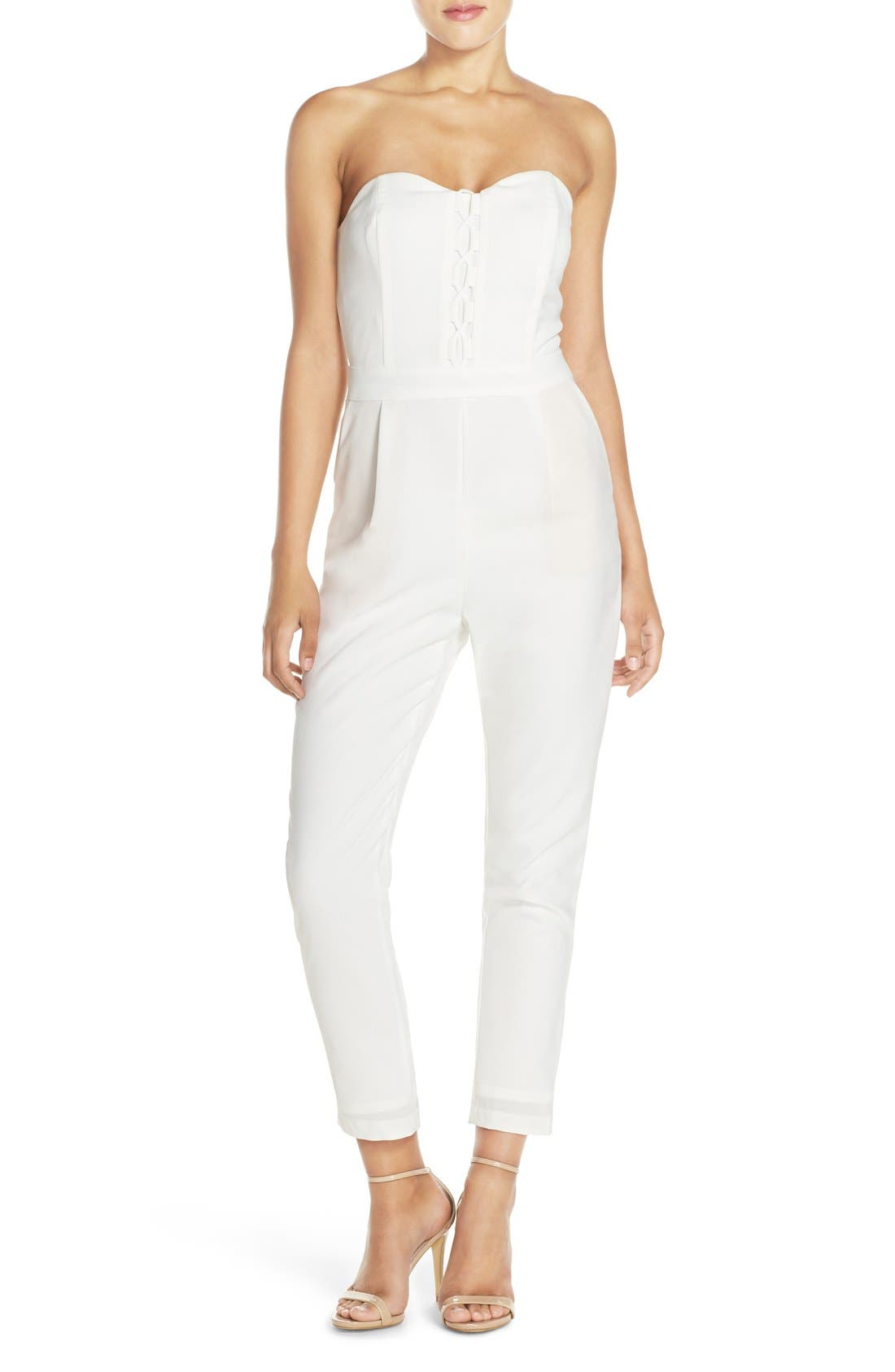 Main Image - Adelyn Rae Strapless Lace-Up Jumpsuit