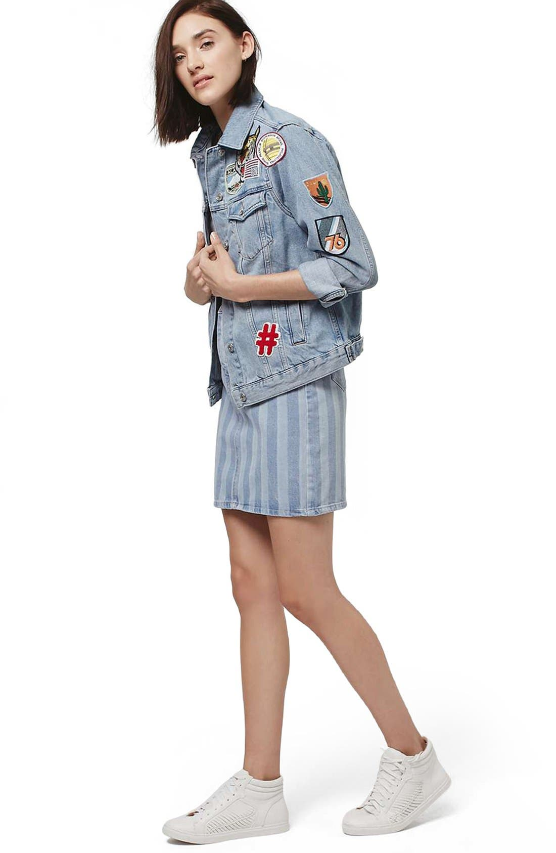 Alternate Image 2  - Topshop Stripe Denim Skirt