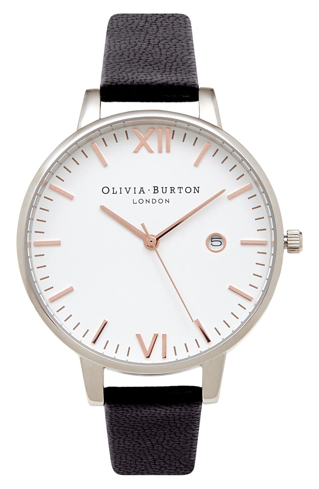 Olivia Burton 'Timeless' Leather Strap Watch, 38mm