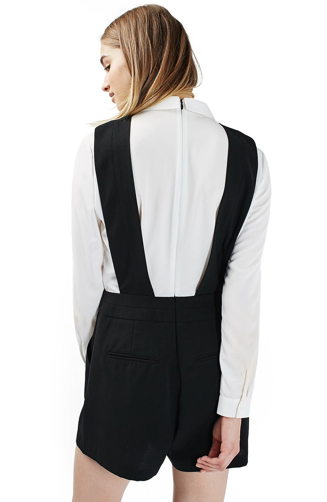 Alternate Image 3  - Topshop One-Piece Pinafore Romper