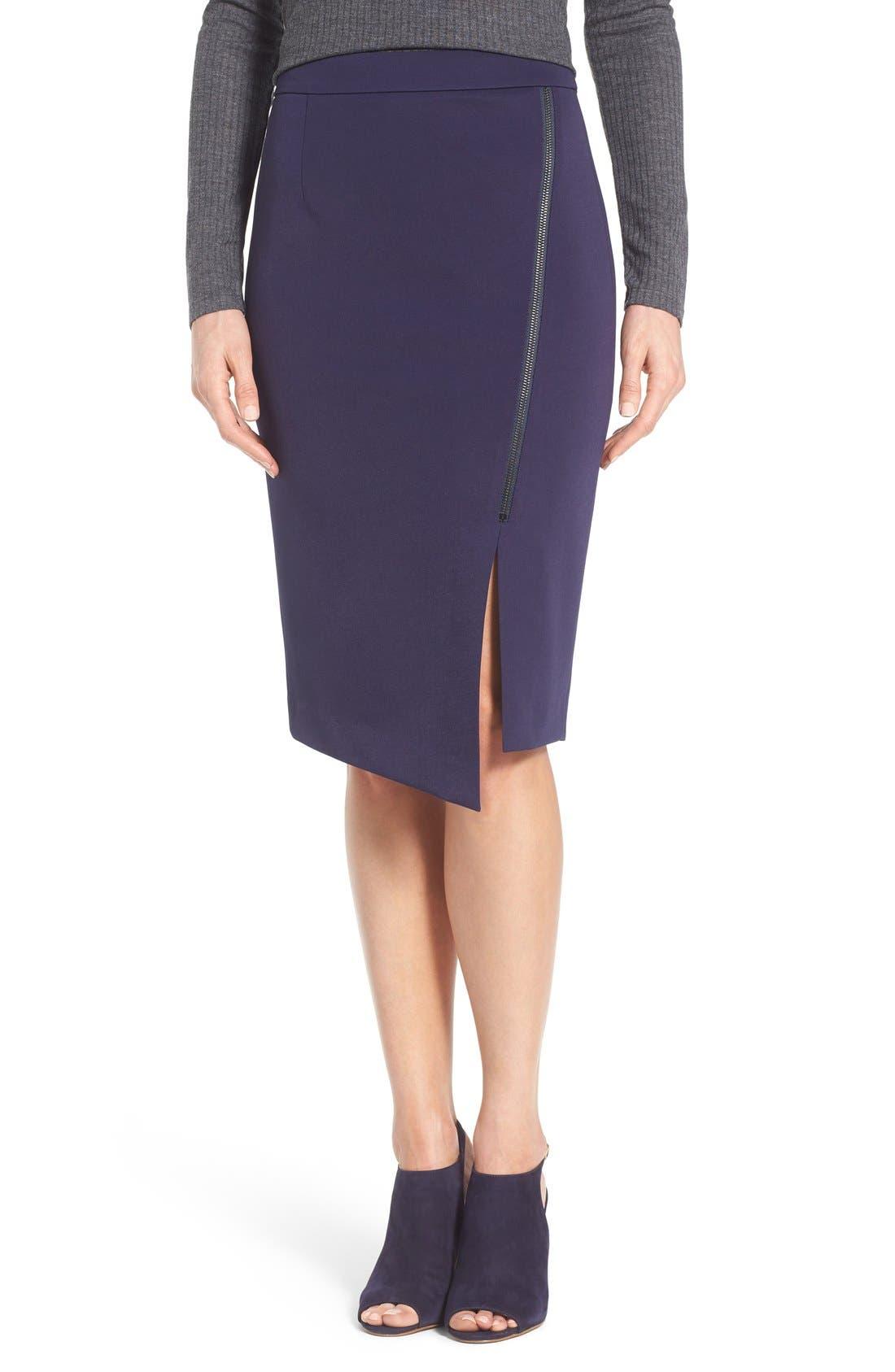 Alternate Image 1 Selected - Halogen® Asymmetrical Zip Pencil Skirt (Regular & Petite)